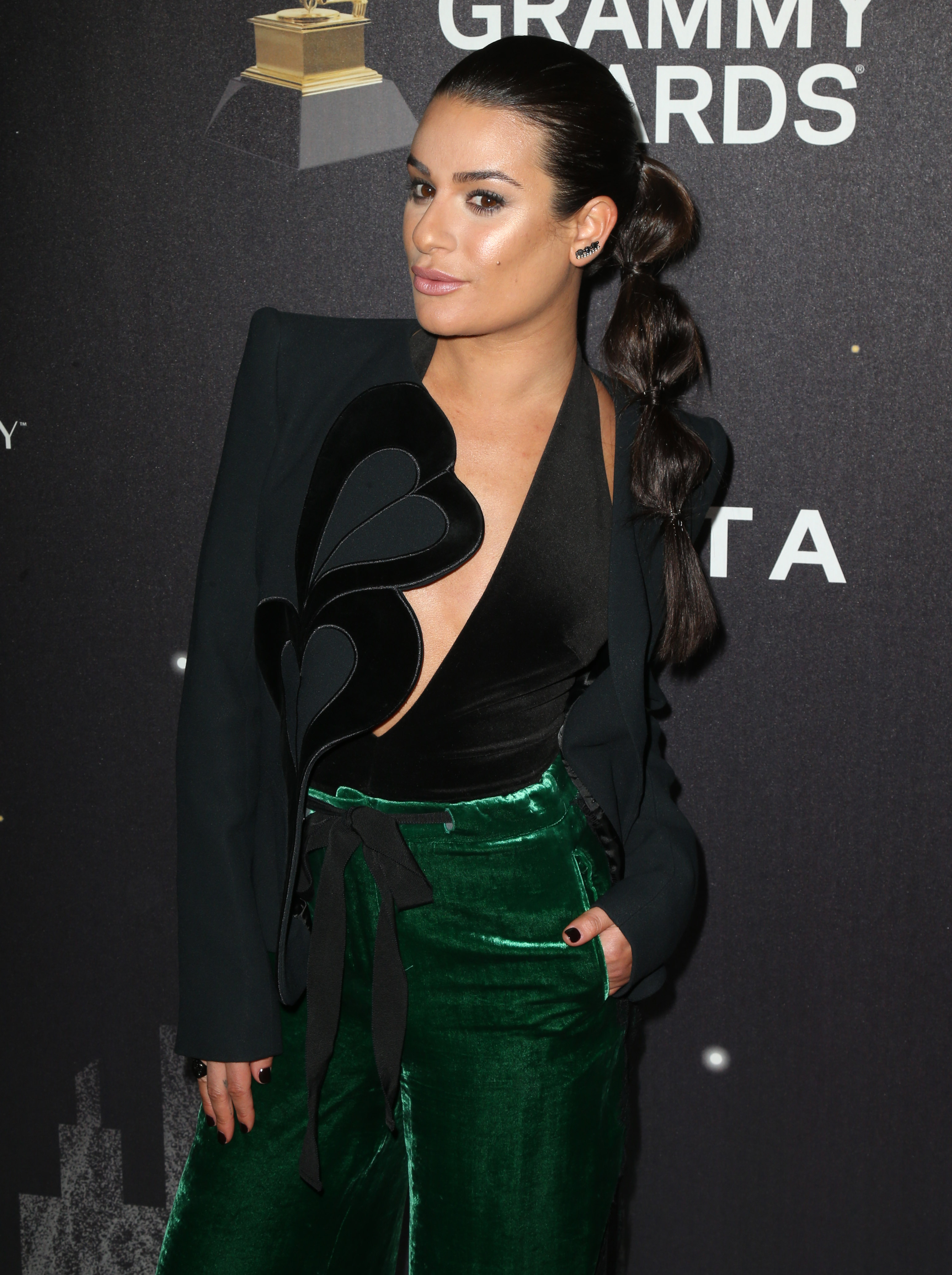 Lea Michele at the Delta Air Lines celebrates 2018 GRAMMY Weekend party in New York City. <P> Pictured: Lea Michele <B>Ref: SPL1650868  250118  </B><BR/> Picture by: Splash News<BR/> </P><P> <B>Splash News and Pictures</B><BR/> Los Angeles:310-821-2666<BR/> New York:212-619-2666<BR/> London:870-934-2666<BR/> <span id=