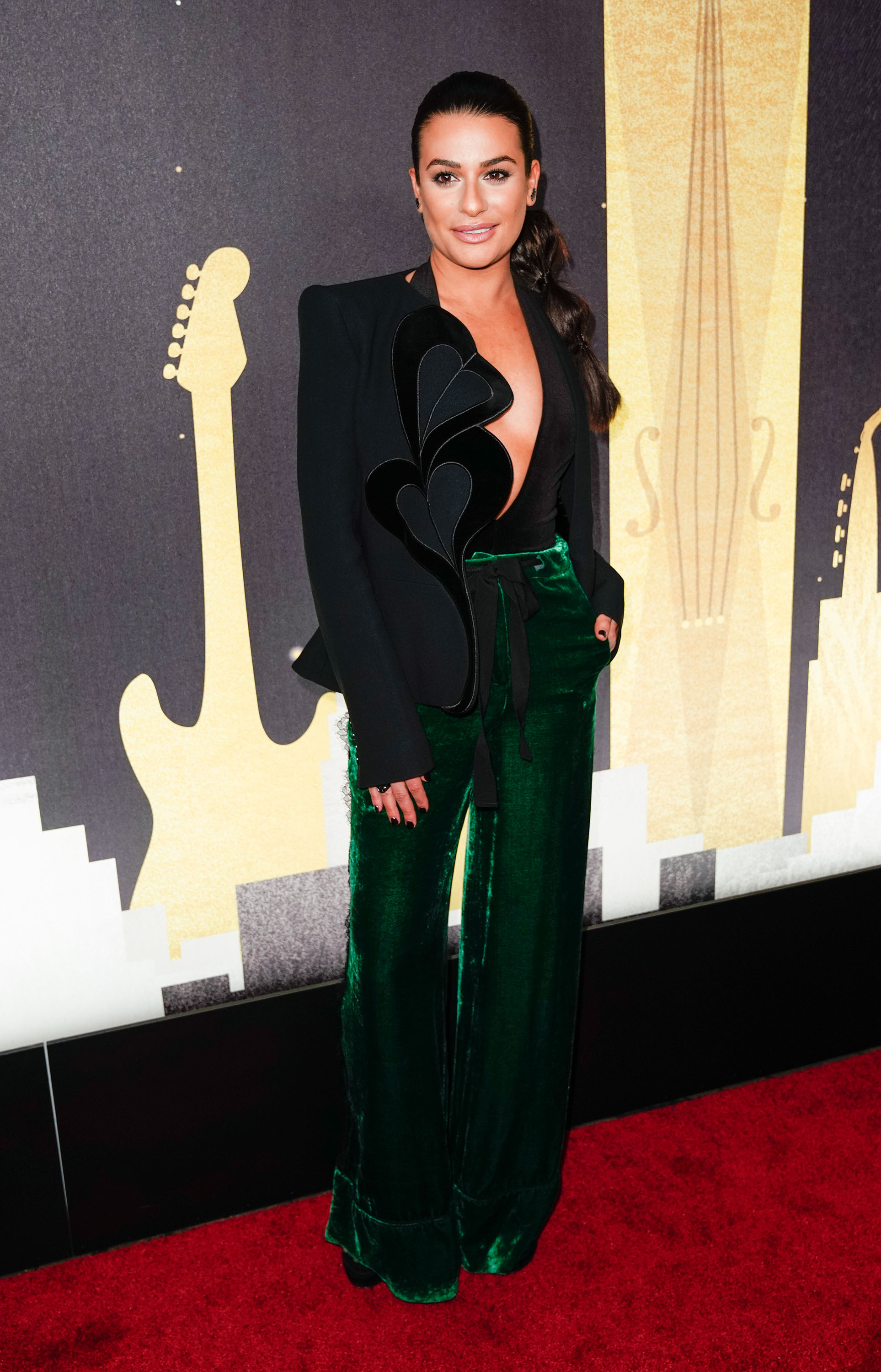Lea Michele plays around with a pilot's hat at a Delta Airlines Grammy event at the Bowery Hotel in New York     <P> Pictured: Lea Michele <B>Ref: SPL1650929  260118  </B><BR/> Picture by: Jackson Lee / Splash News<BR/> </P><P> <B>Splash News and Pictures</B><BR/> Los Angeles:310-821-2666<BR/> New York:212-619-2666<BR/> London:870-934-2666<BR/> <span id=