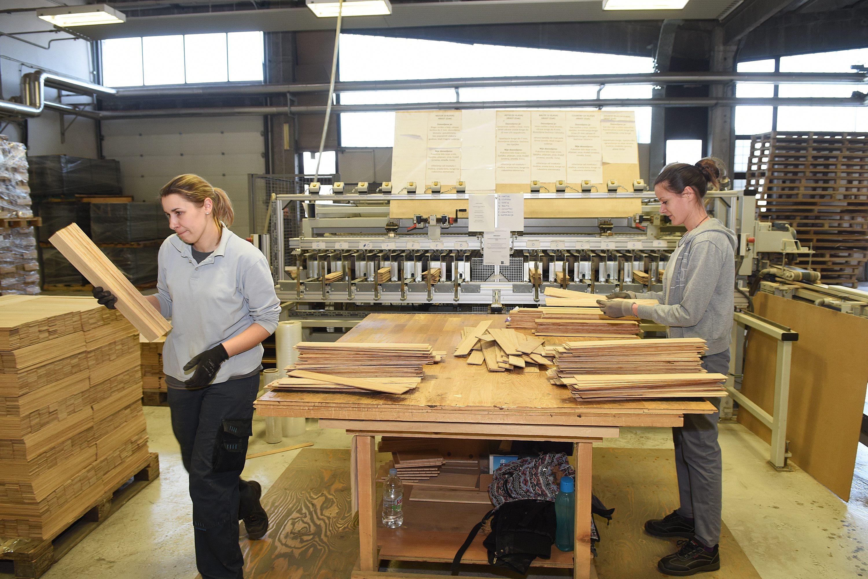 SPECIJAL NEDJELJNI JUTARNJI Ogulin, 250118. Bjelin, tvornica laminata i troslojnog parketa u Ogulinu. Na fotografiji: Radnici u Tvornici Bjelin. Foto: Robert Fajt / CROPIX