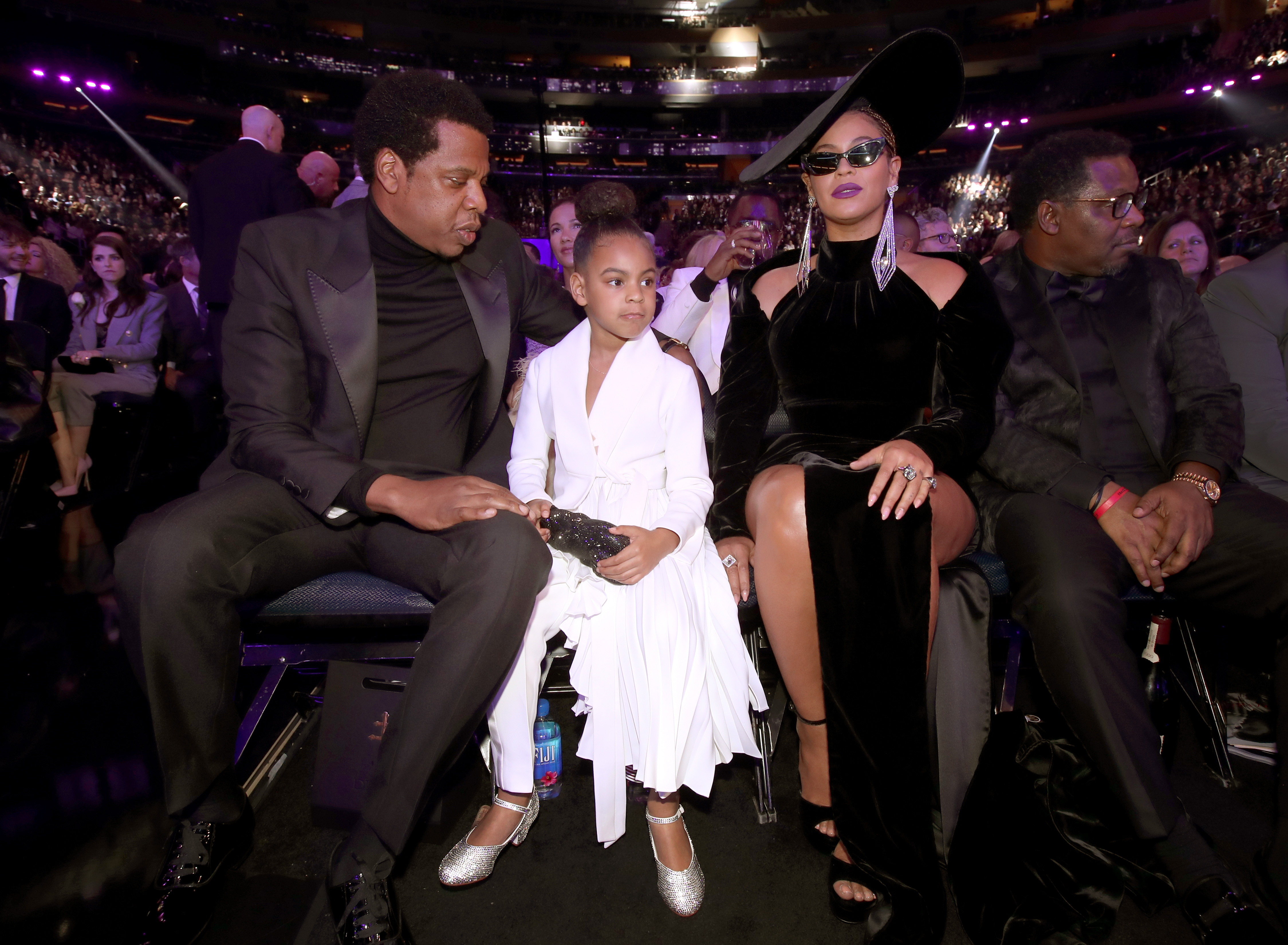 NEW YORK, NY - JANUARY 28:  (L-R) Jay-Z, Blue Ivy and Beyonce Knowles attend the 60th Annual GRAMMY Awards at Madison Square Garden on January 28, 2018 in New York City.  (Photo by Christopher Polk/Getty Images for NARAS)