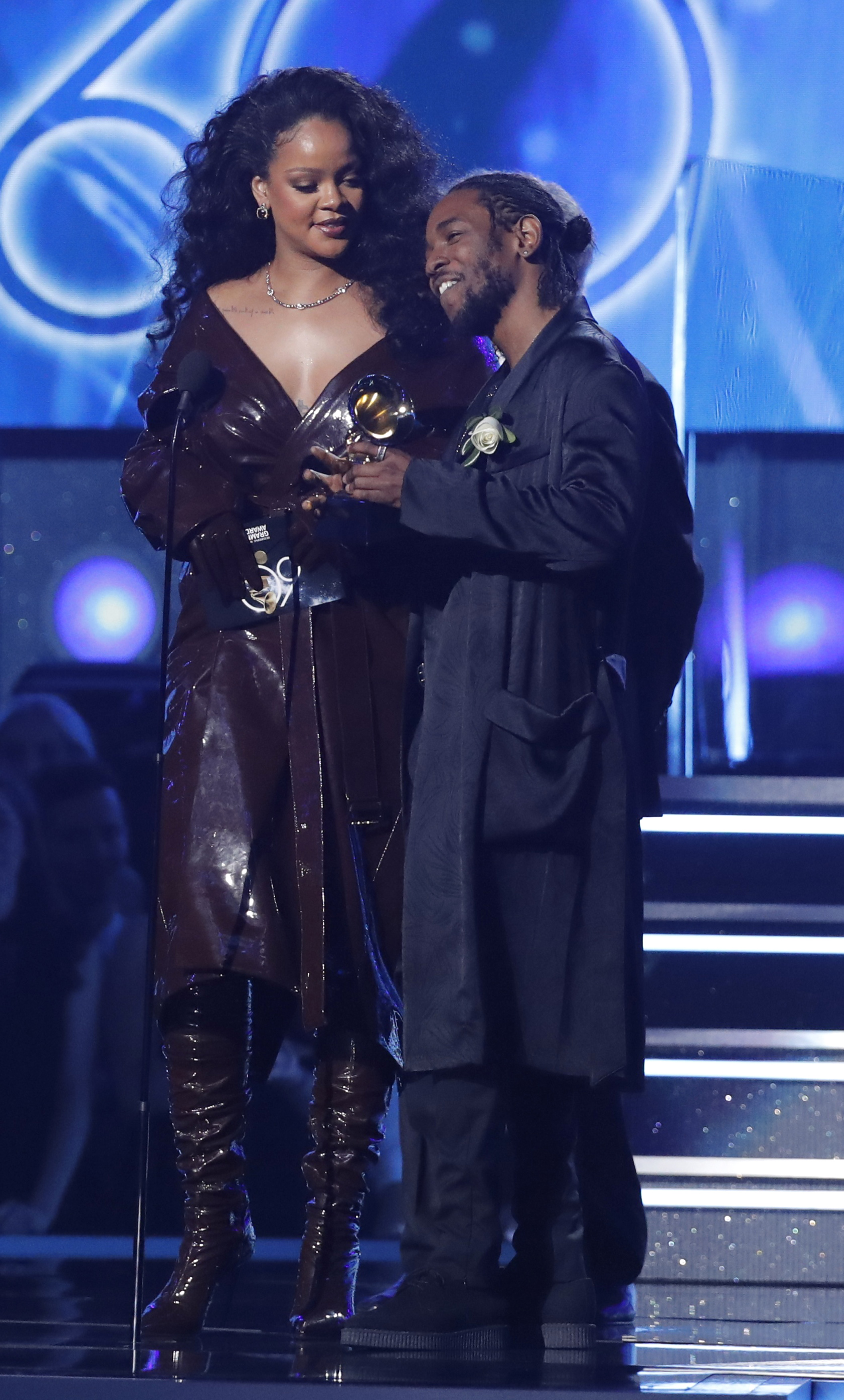 60th Annual Grammy Awards  Show  New York, U.S., 28/01/2018  Kendrick Lamar and Rihanna accept the Grammy for best rap/sung performance for