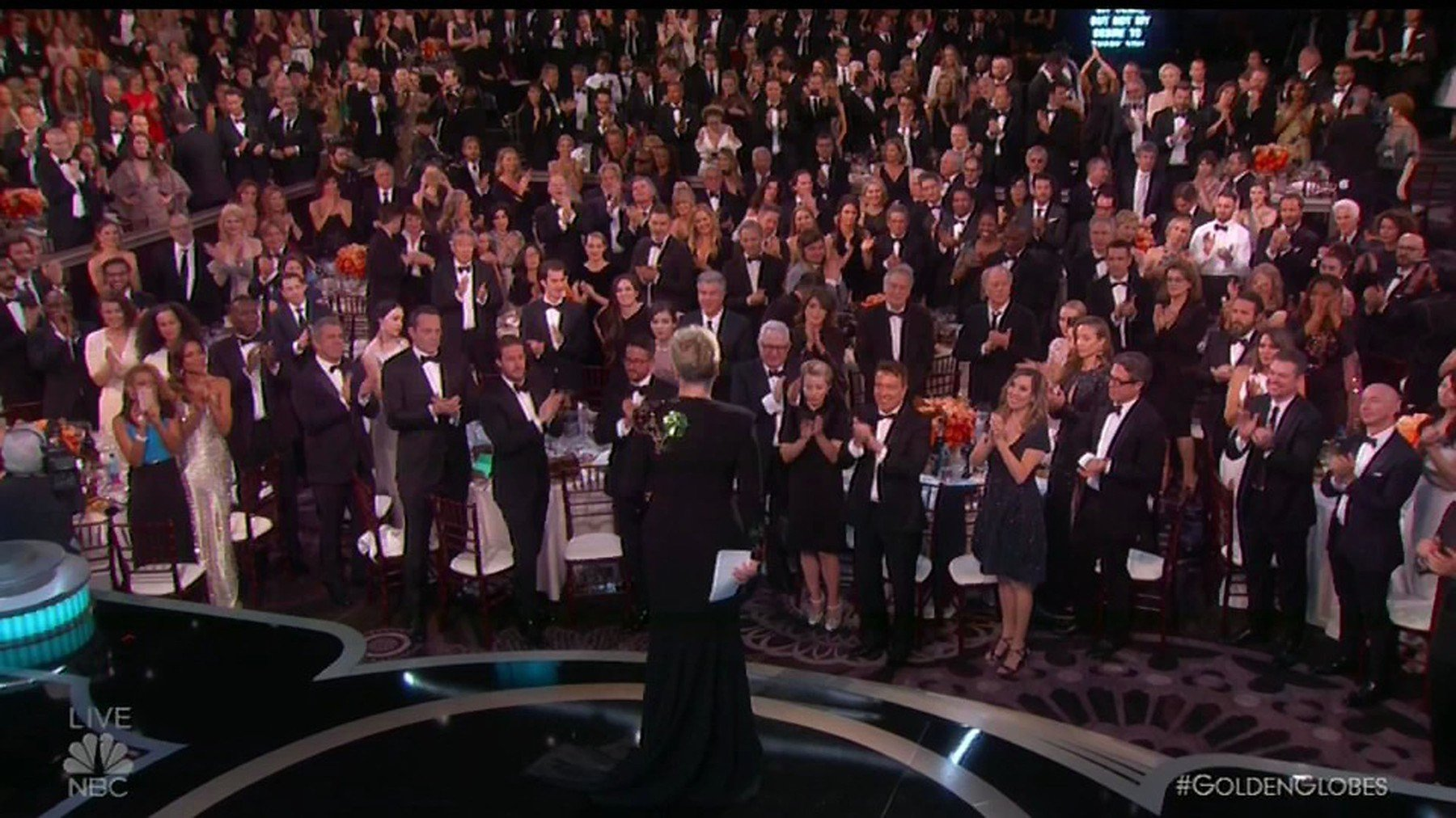8 January 2017 - Los Angeles - USA  **** STRICTLY NOT AVAILABLE FOR USA ***  Meryl Streep fights back tears as she rips into 'bully' Donald Trump and his impersonation of a disabled reporter in speech that stuns the Golden Globe Awards. Streep used her acceptance speech to publicly slam President elect Donald Trump as she alluded to racism and disrespect. The Cecil B. DeMille honoree supplied the night's most striking rebuke to Trump, called the moment he mocked a disabled reporter the 'most stunning performance' of the year.