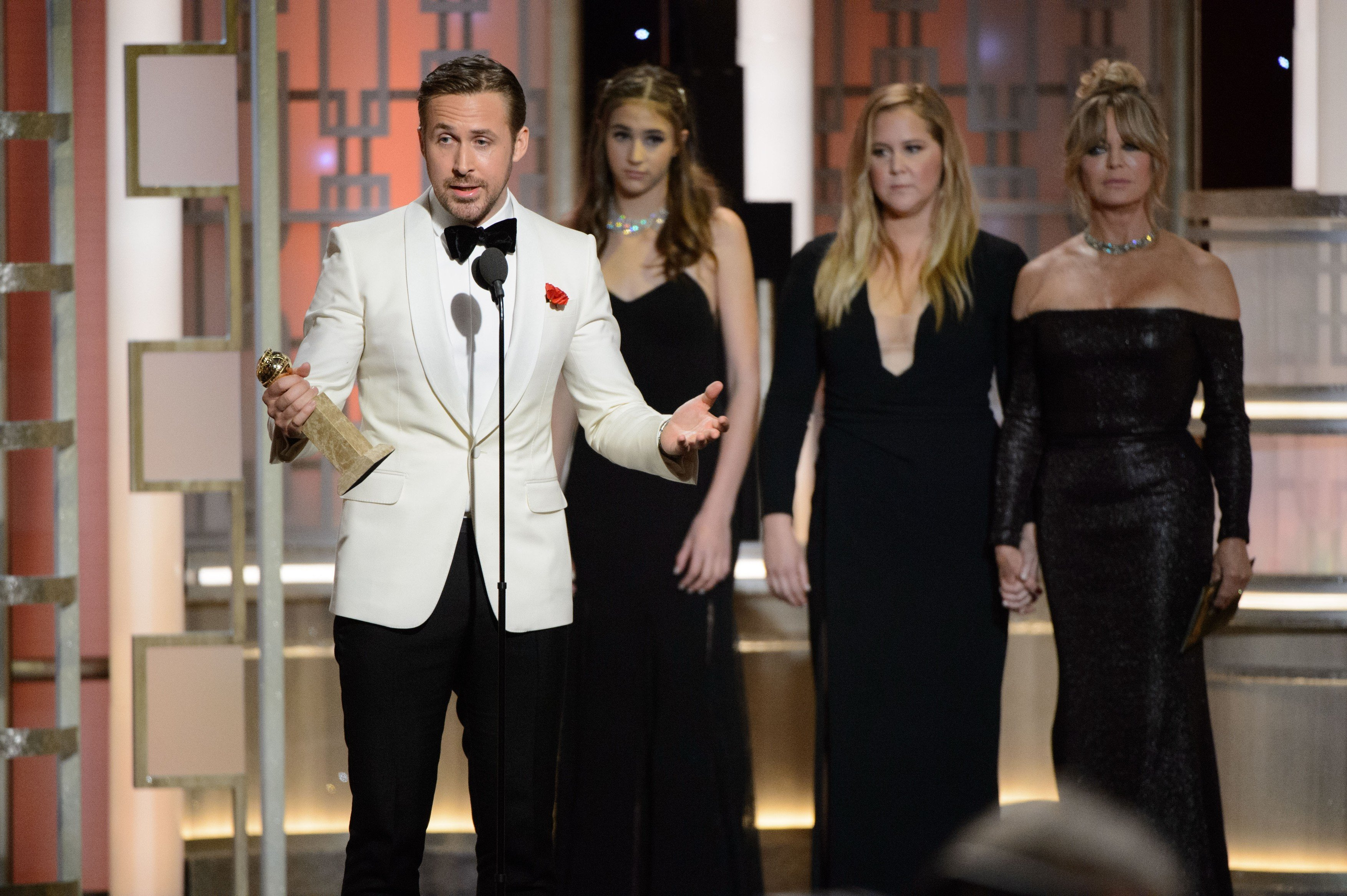 Ryan Gosling accepts the Golden Globe Award for BEST PERFORMANCE BY AN ACTOR IN A MOTION PICTURE 'Äě COMEDY OR MUSICAL for his role in