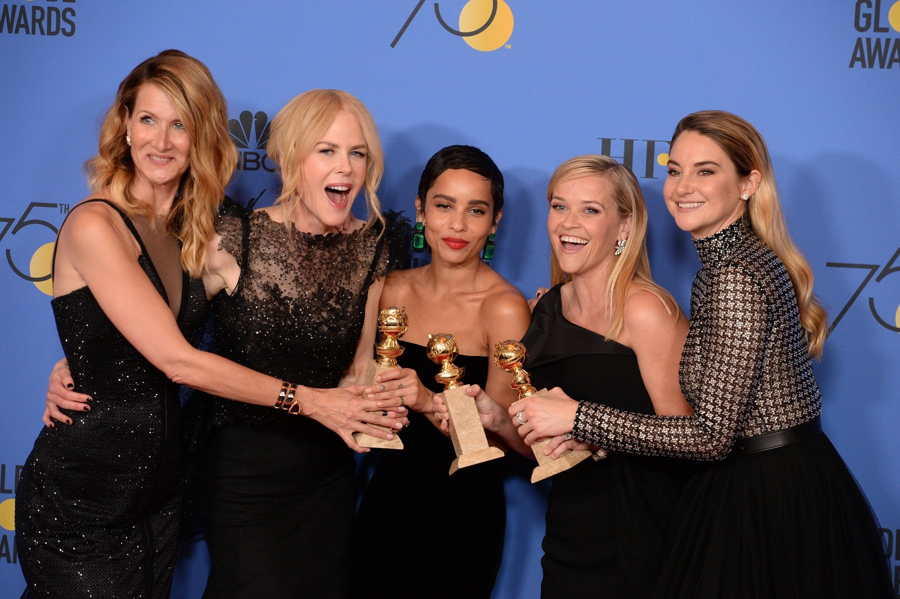 (L-R) Actors Laura Dern, Nicole Kidman, Zoe Kravitz, Reese Witherspoon and Shailene Woodley of 'Big Little Lies,' winner of the award for Best Television Limited Series or Motion Picture Made for Television posing in the press room during The 75th Annual Golden Globe Awards at The Beverly Hilton Hotel on January 7, 2018 in Los Angeles, CA, USA., Image: 359518769, License: Rights-managed, Restrictions: , Model Release: no, Credit line: Profimedia, Abaca