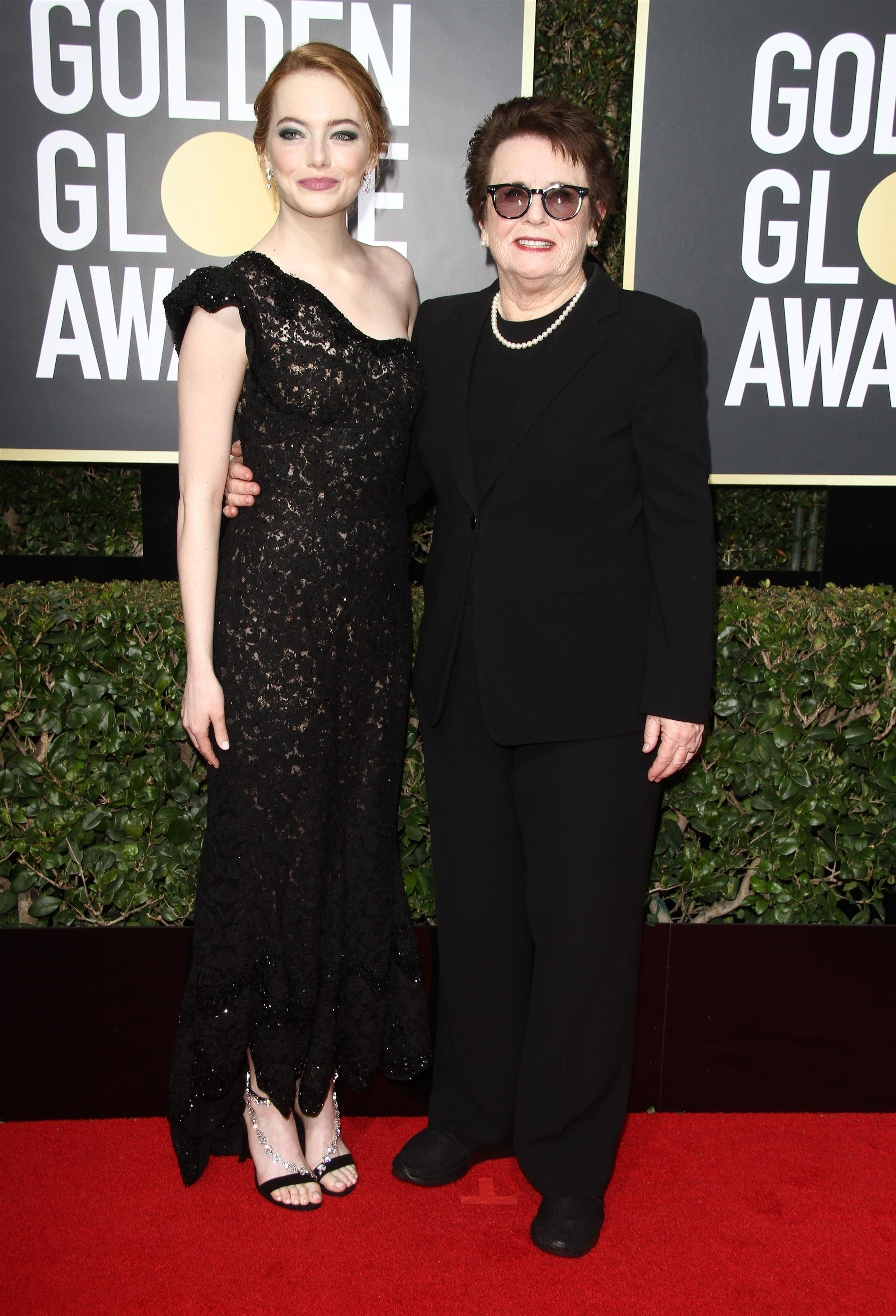 Beverly Hills, CA  - Celebrities arriving at the 75th annual Golden Globe awards held at the Beverly Hilton hotel in Beverly Hills.  Pictured: Emma Stone, Billie Jean King  BACKGRID USA 7 JANUARY 2018, Image: 359514893, License: Rights-managed, Restrictions: , Model Release: no, Credit line: Profimedia, AKM-GSI