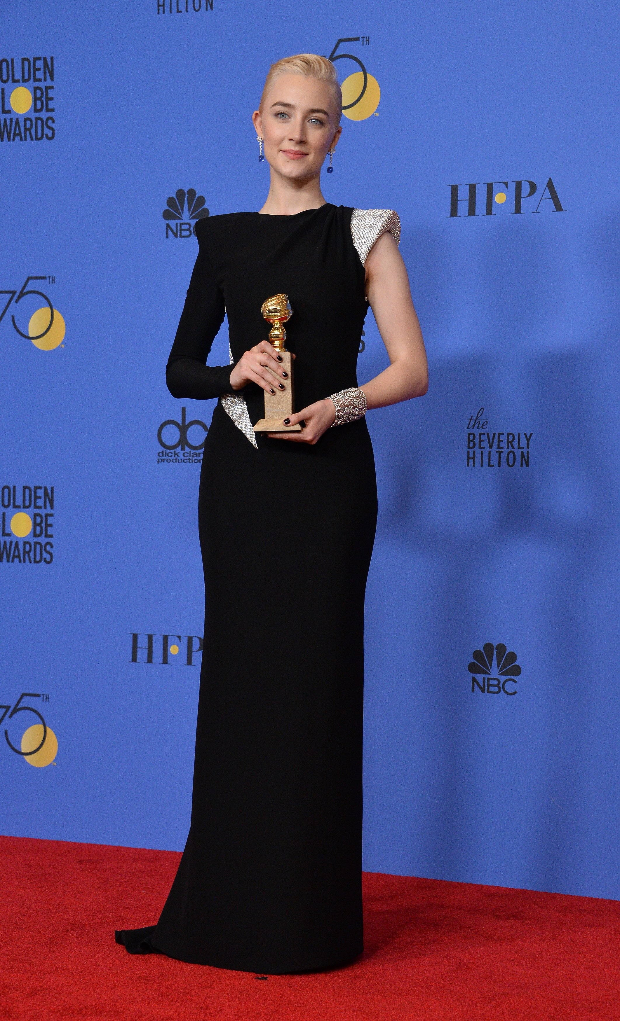 Actor Saoirse Ronan appears backstage after winning the award for Best Performance by an Actress in a Motion Picture - Musical or Comedy for 'Lady Bird' during the 75th annual Golden Globe Awards at the Beverly Hilton Hotel in Beverly Hills, California on January 7, 2018. Photo by /UPI, Image: 359518859, License: Rights-managed, Restrictions: , Model Release: no, Credit line: Profimedia, UPI