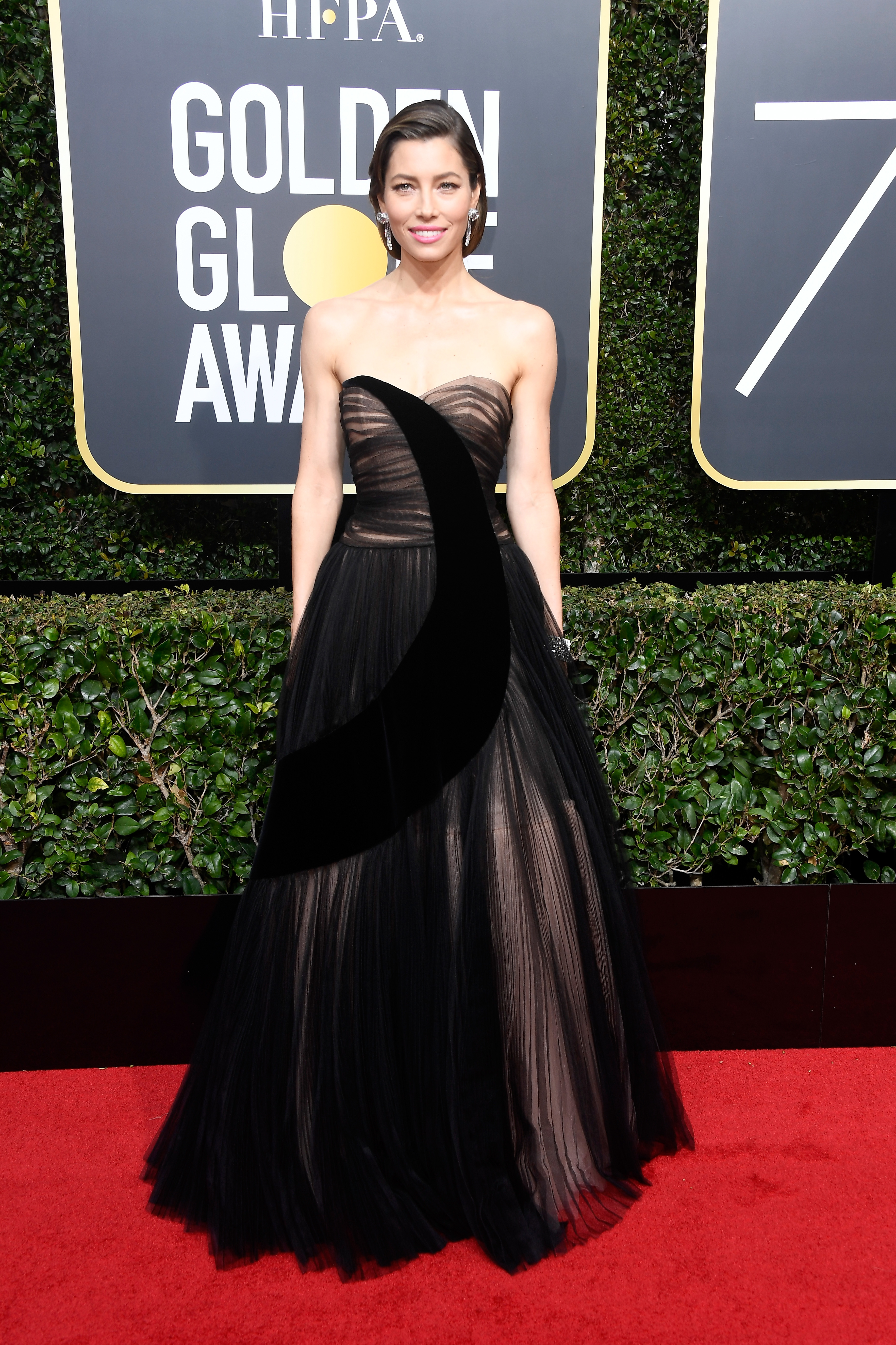 BEVERLY HILLS, CA - JANUARY 07:  Jessica Biel attends The 75th Annual Golden Globe Awards at The Beverly Hilton Hotel on January 7, 2018 in Beverly Hills, California.  (Photo by Frazer Harrison/Getty Images)