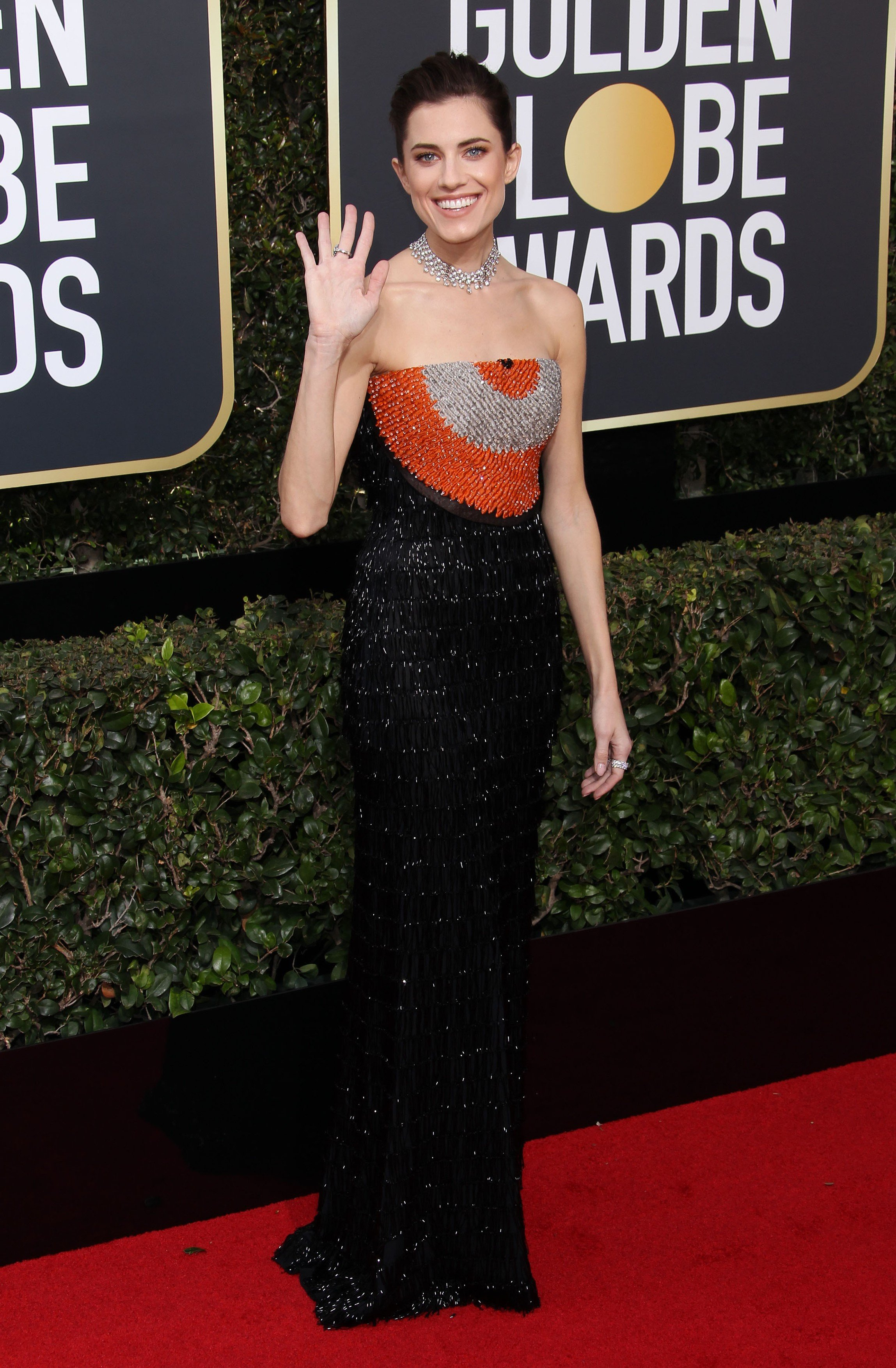 75th Annual Golden Globes. 07 Jan 2018 Pictured: Alison Williams., Image: 359527132, License: Rights-managed, Restrictions: World Rights, Model Release: no, Credit line: Profimedia, Mega Agency