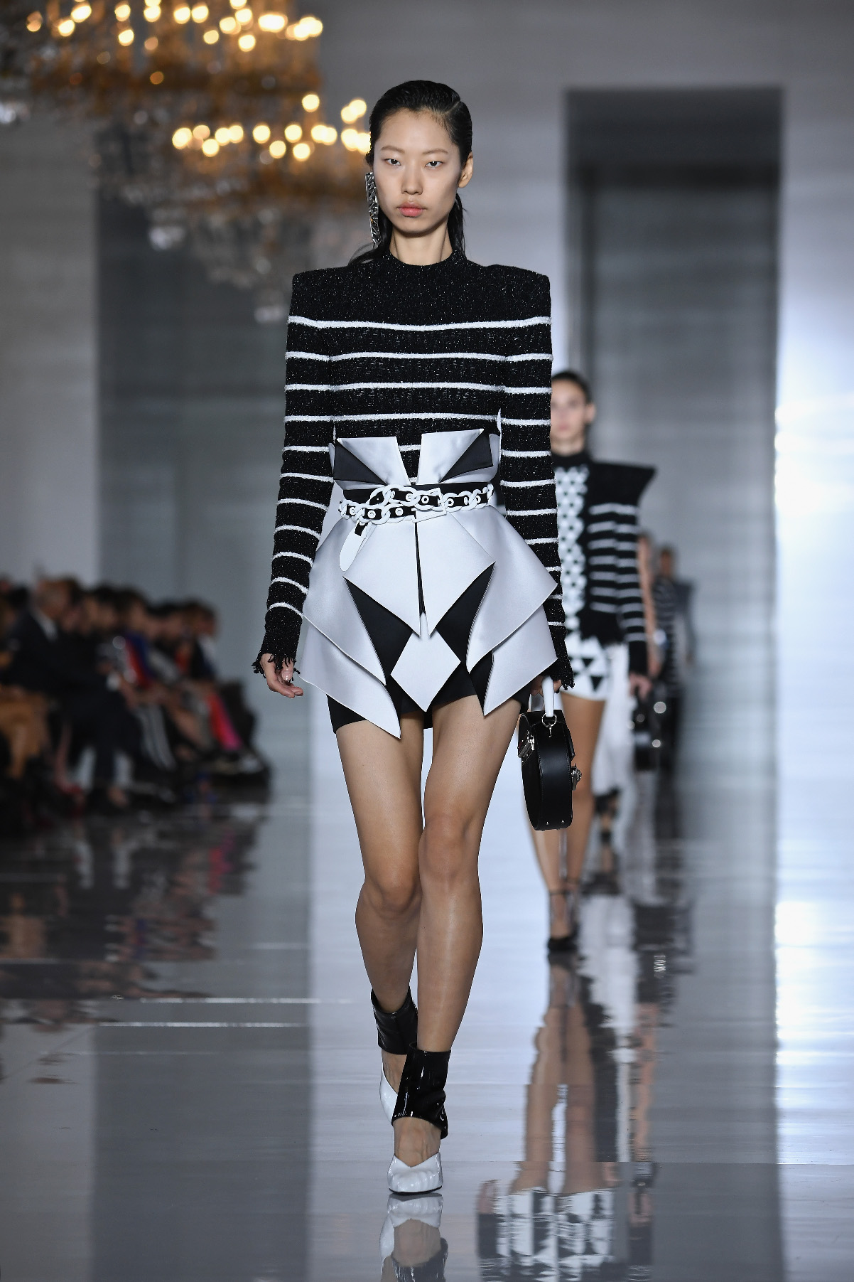 PARIS, FRANCE - SEPTEMBER 28:  A model walks the runway during the Balmain show as part of the Paris Fashion Week Womenswear Spring/Summer 2019 on September 28, 2018 in Paris, France.  (Photo by Pascal Le Segretain/Getty Images)