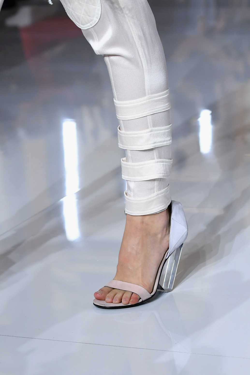 PARIS, FRANCE - SEPTEMBER 28:  A model, shoe detail, walks the runway during the Balmain show as part of the Paris Fashion Week Womenswear Spring/Summer 2019 on September 28, 2018 in Paris, France.  (Photo by Pascal Le Segretain/Getty Images)