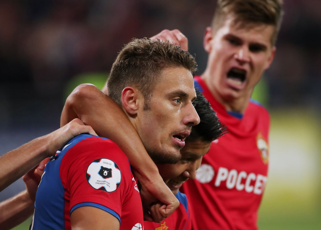 MOSCOW, RUSSIA - SEPTEMBER 23: Nikola Vlasic of PFC CSKA Moscow celebrates his goal with teammates during the Russian Premier League match between PFC CSKA Moscow and FC Spartak Moscow at Arena CSKA stadium on September 23, 2018 in Moscow, Russia. (Photo by Epsilon/Getty Images)