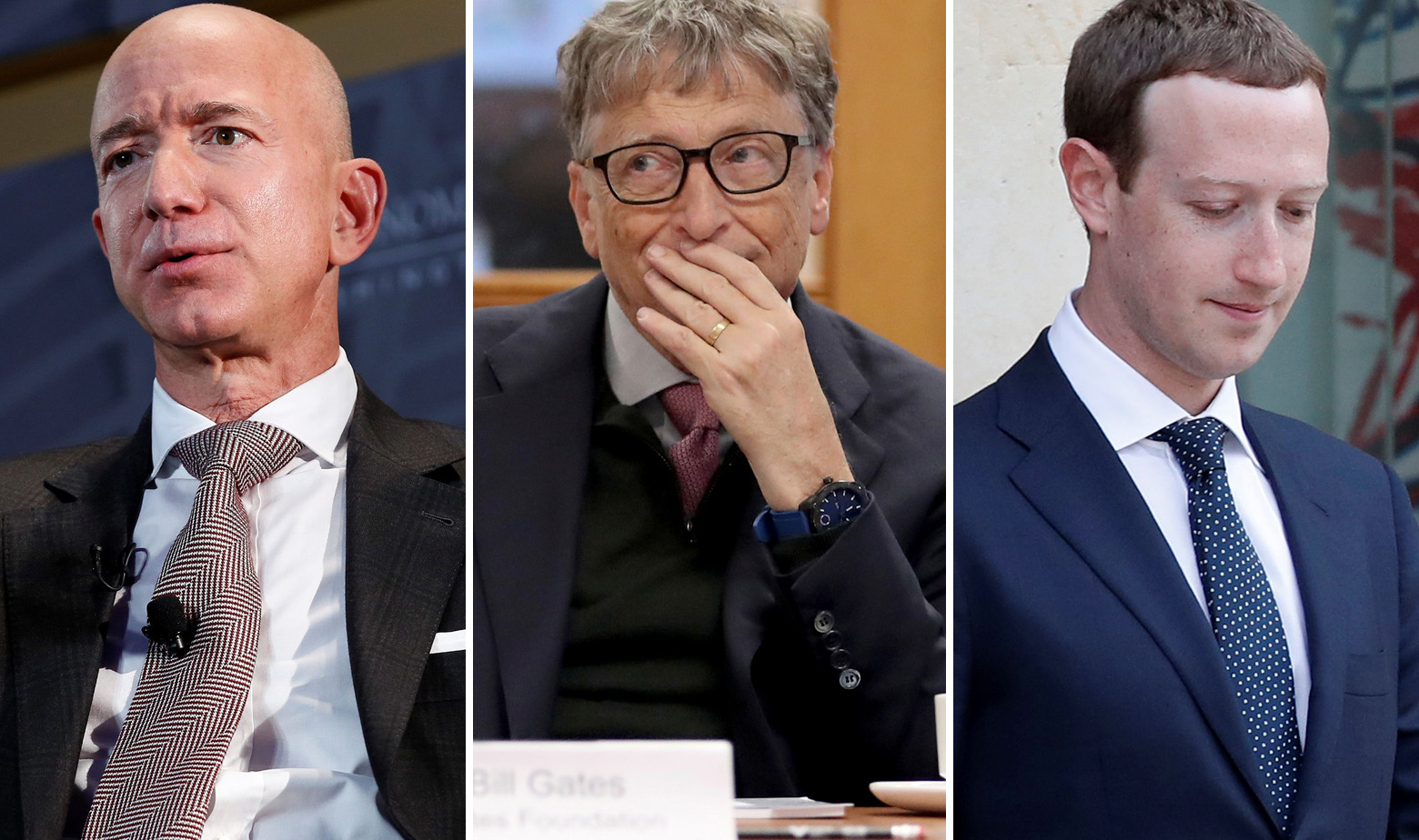 Jeff Bezos, Bill Gates, Mark Zuckerberg