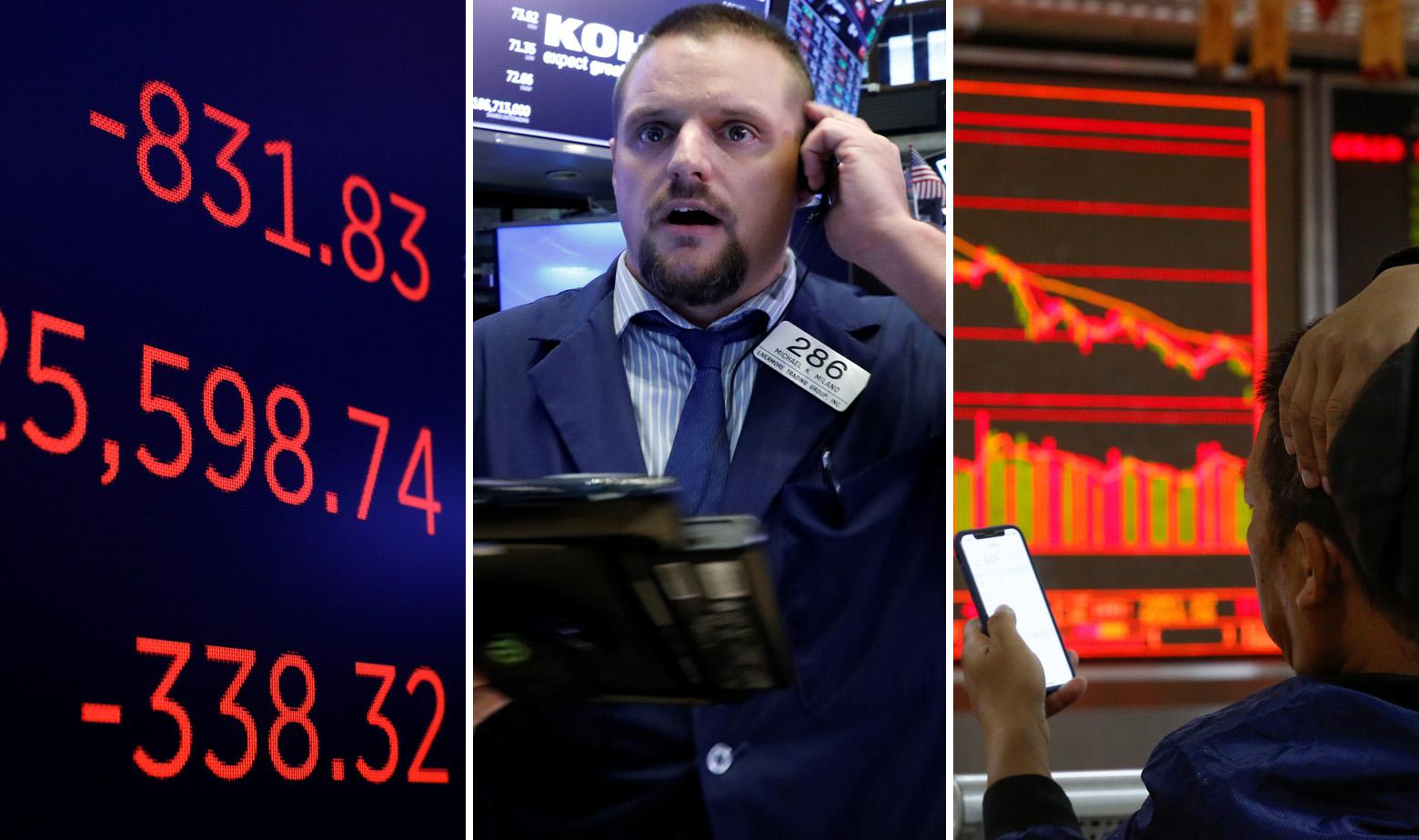 Ilustracija: pad na Wall Streetu i na pekinškoj burzi