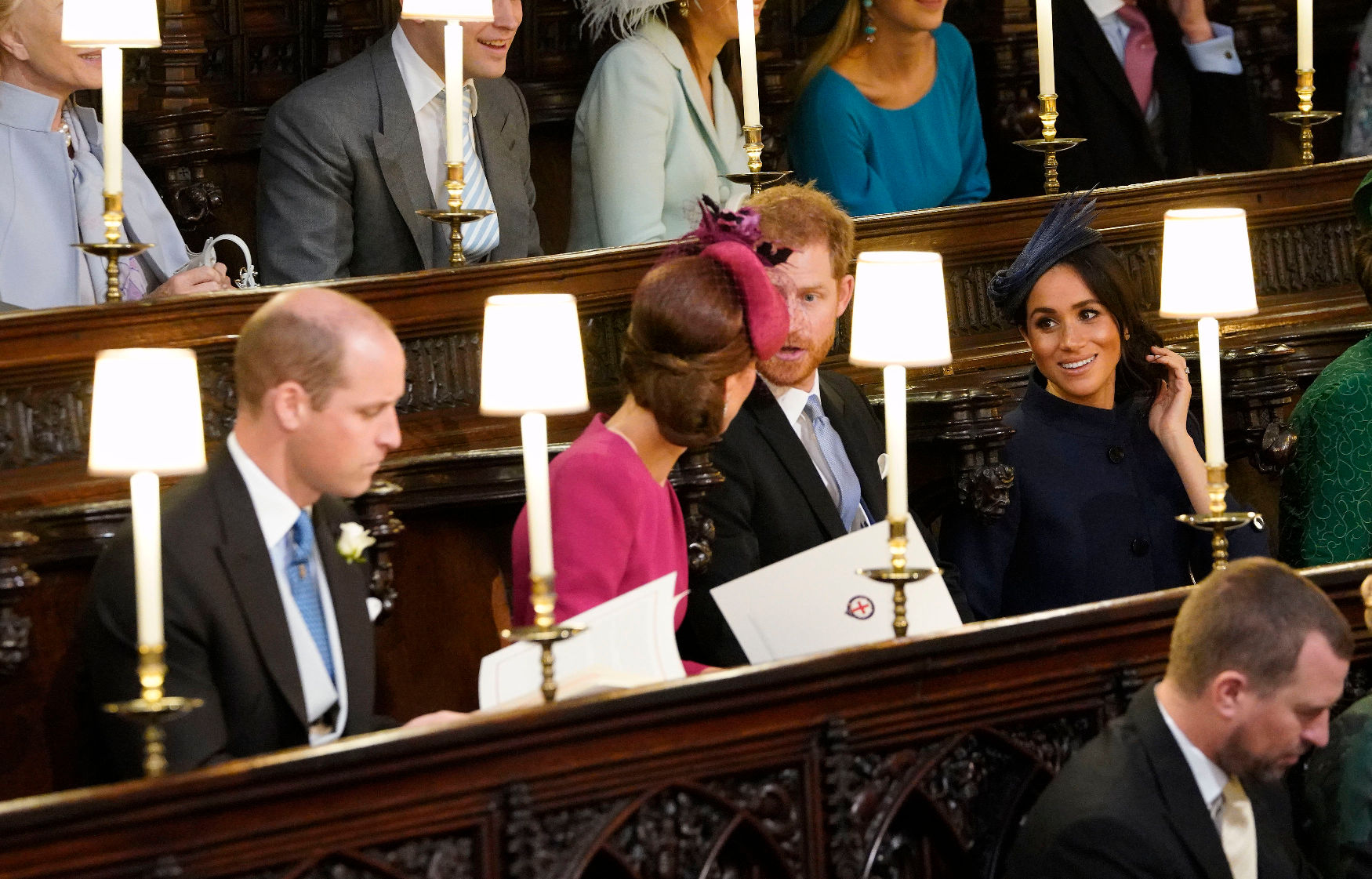WINDSOR, ENGLAND - OCTOBER 12: Catherine, Duchess of Cambridge, Prince William, Duke of Cambridge, Prince Harry, Duke of Sussex and Meghan, Duchess of Sussex arrive attend the wedding of Princess Eugenie of York to Jack Brooksbank at at St. George's Chapel on October 12, 2018 in Windsor, England. (Photo by  Danny Lawson - WPA Pool/Getty Images)