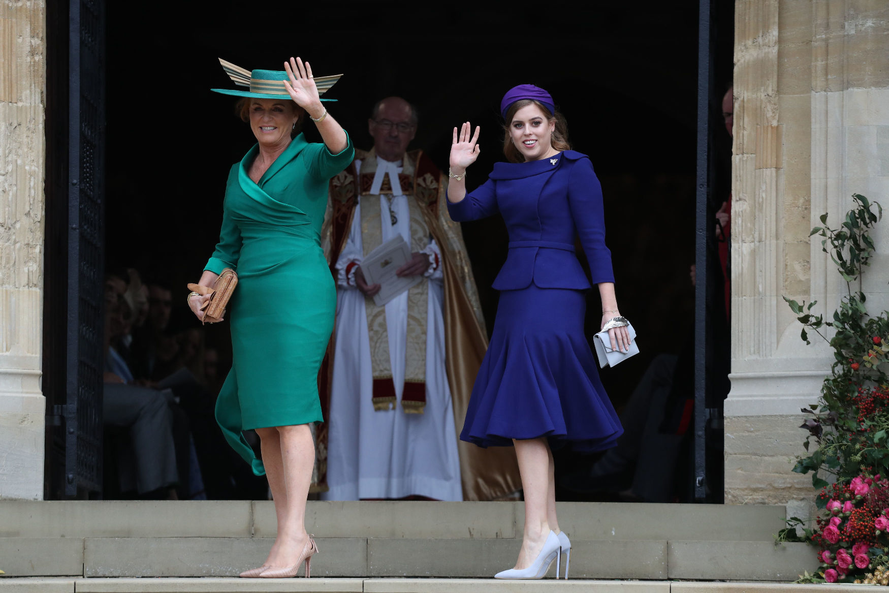 WINDSOR, ENGLAND - OCTOBER 12: Sarah Ferguson and Princess Beatrice of York arrive ahead of the wedding of Princess Eugenie of York to Jack Brooksbank at Windsor Castle on October 12, 2018 in Windsor, England. (Photo by Steve Parsons - WPA Pool/Getty Images)
