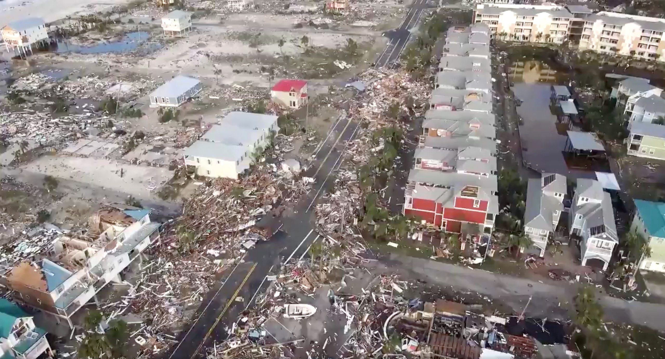 An aerial view shows debris strewn over streets after Hurricane Michael blew through Mexico Beach, Florida, U.S., October 11, 2018 in this still image taken from drone video obtained from social media.  Duke Energy/via REUTERS THIS IMAGE HAS BEEN SUPPLIED BY A THIRD PARTY. MANDATORY CREDIT. NO RESALES. NO ARCHIVES.