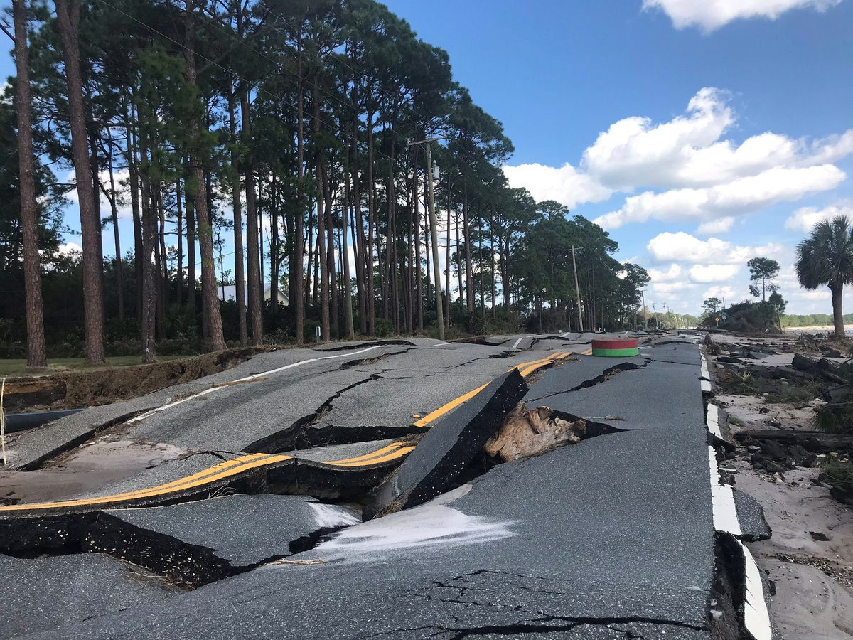 A damaged road after Hurricane Michael blew through Carrabelle, Florida, U.S., October 11, 2018 in this picture obtained from social media.  Duke Energy/via REUTERS THIS IMAGE HAS BEEN SUPPLIED BY A THIRD PARTY. MANDATORY CREDIT. NO RESALES. NO ARCHIVES.