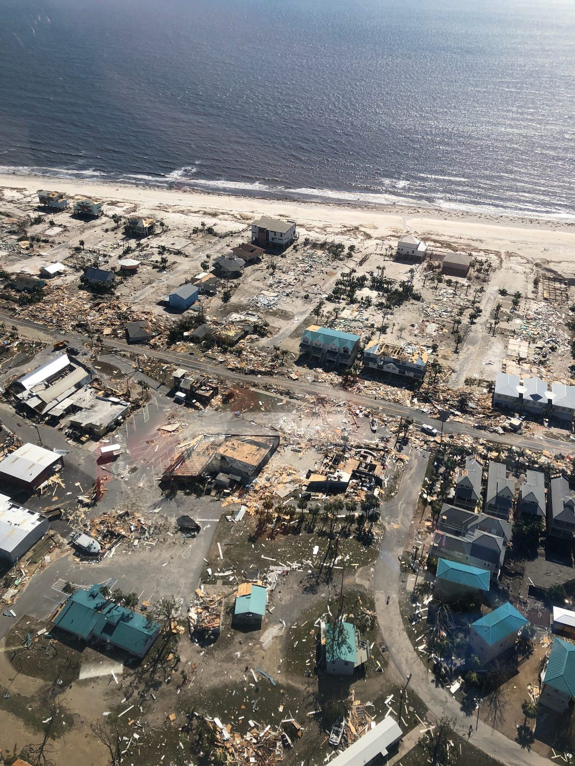 Aerial photo shows homes and businesses destroyed after Hurricane Michael smashed into Florida's northwest coast in Mexico Beach, Florida, U.S., October 11, 2018.   Courtesy James E. Wyatt/U.S. Customs and Border Protection/Handout via REUTERS  ATTENTION EDITORS - THIS IMAGE HAS BEEN SUPPLIED BY A THIRD PARTY.