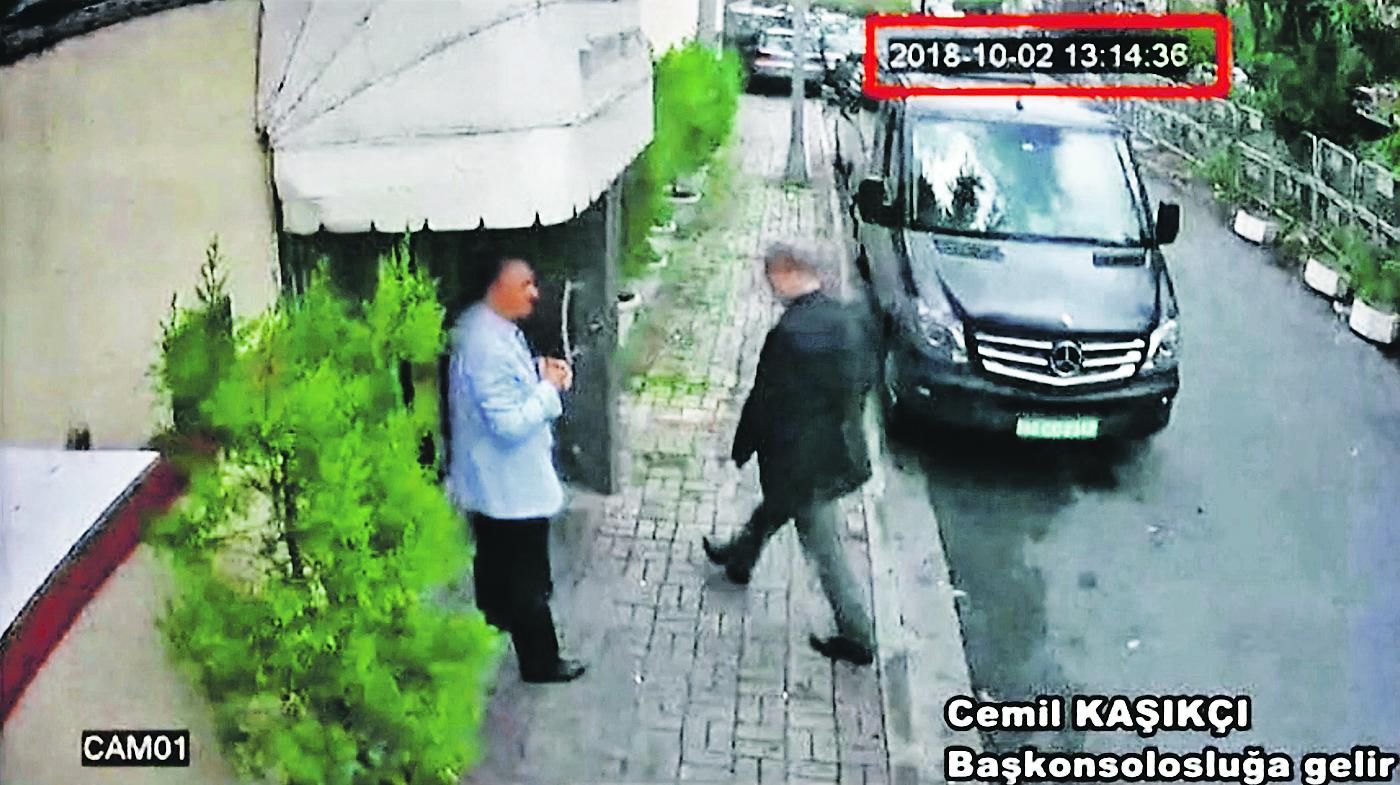 Snimka ulične kamere koja prikazuje novinara Jamala Khashoggija kako ulazi u saudijski konzulat u Istanbulu