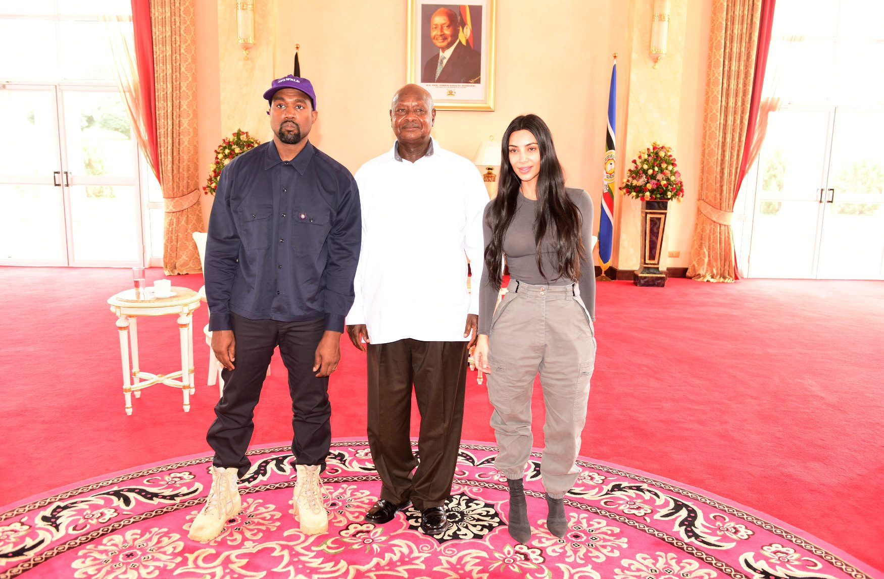 Kanye West, Yoweri Museveni i Kim Kardashian