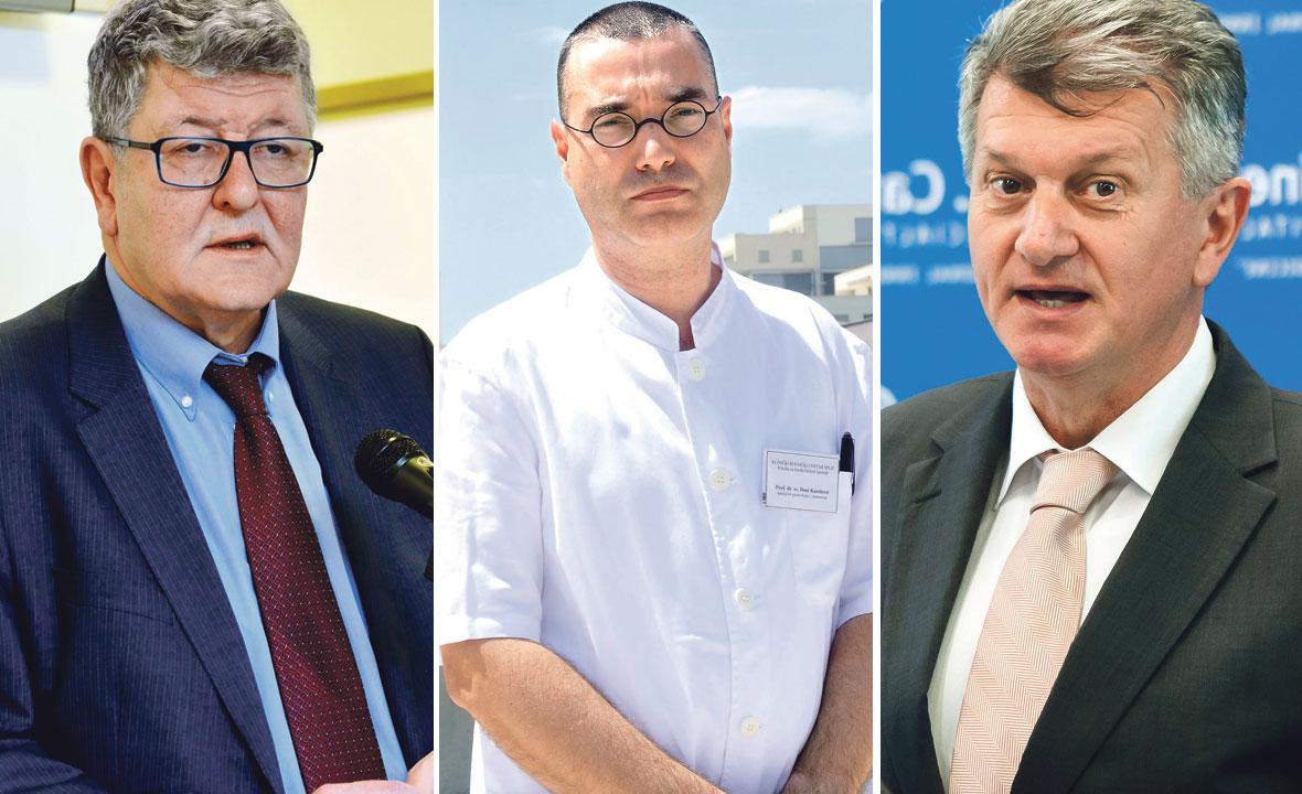 Dr. Ante Ćorušić,  predsjednik HDGO-a i ravnatelj KBC-a Zagreb, Deni Karelović, predstojnik Klinike za ženske bolesti i porode KBC-a Split i ministar Milan Kujundžić
