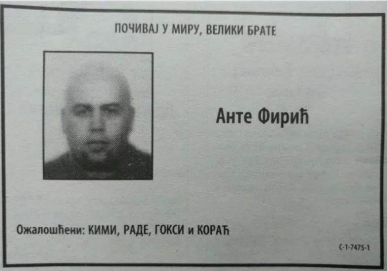 Ante Firić, osmrtnica objavljena u Večernjim novostima