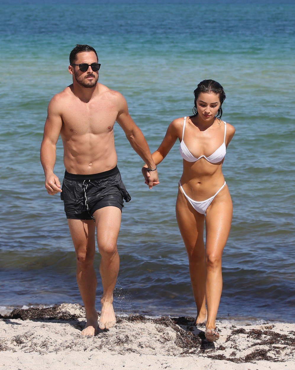 Bikini clad Model Olivia Culpo and NFL player Danny Amendola are clearly back together as they hold hands  on the beach in Miami. 25 Sep 2018, Image: 388375483, License: Rights-managed, Restrictions: World Rights, Model Release: no, Credit line: Profimedia, Mega Agency