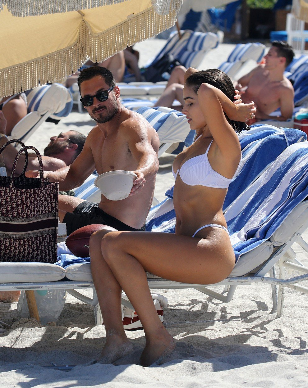 Bikini clad Model Olivia Culpo and NFL player Danny Amendola are clearly back together as they hold hands  on the beach in Miami. 25 Sep 2018, Image: 388375839, License: Rights-managed, Restrictions: World Rights, Model Release: no, Credit line: Profimedia, Mega Agency