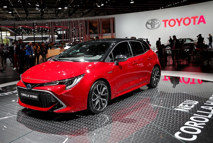 The new Toyota Corolla Hybrid car is seen during the first press day of the Paris auto show, in Paris, France, October 2, 2018. REUTERS/Benoit Tessier
