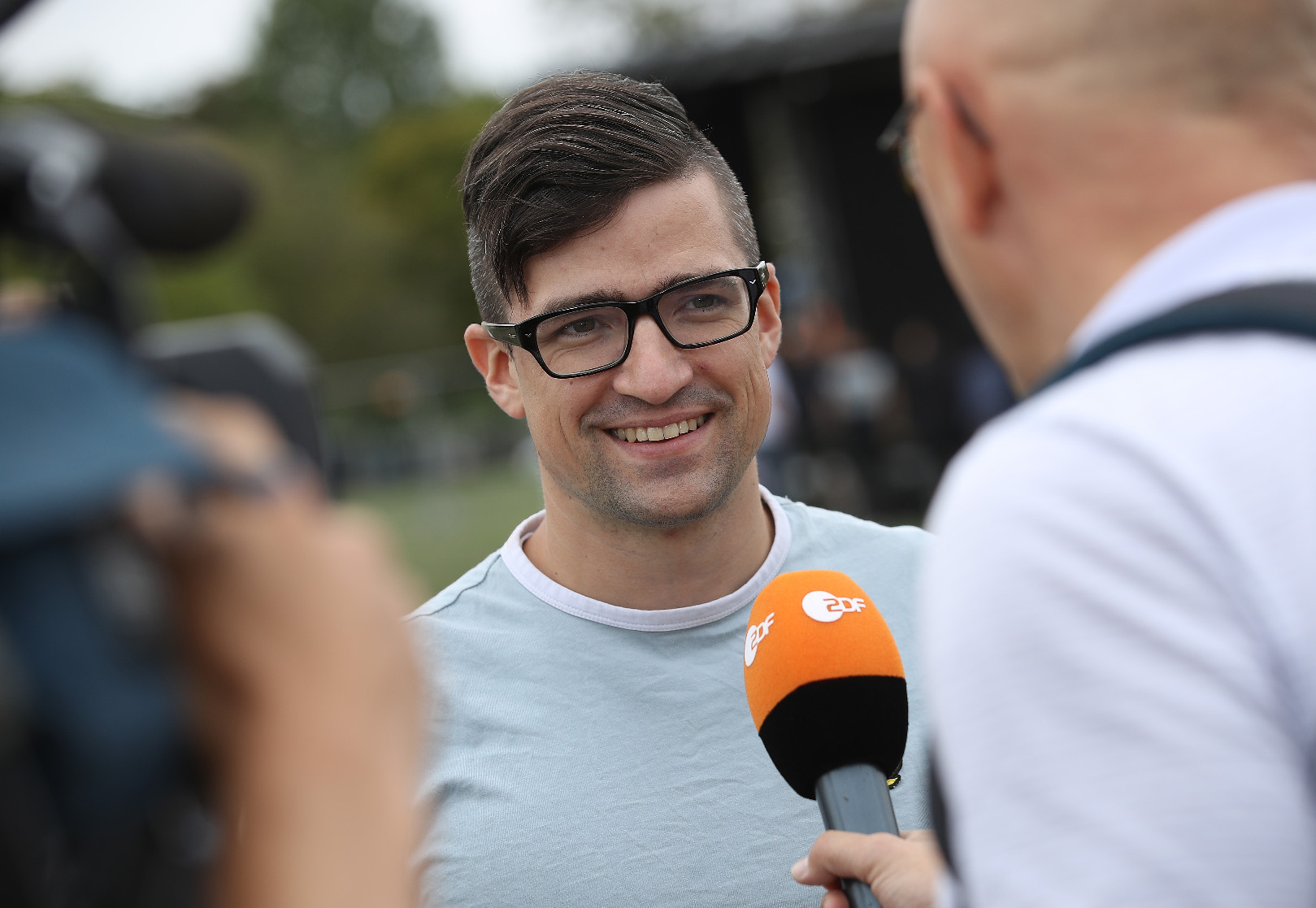 DRESDEN, GERMANY - AUGUST 25:  Martin Sellner, a leading member of the Identitarian Movement, speaks to journalists at a gathering entitled