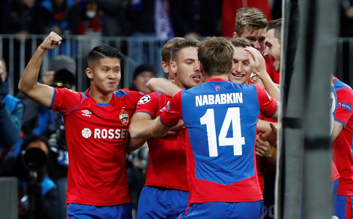 Soccer Football - Champions League - Group Stage - Group G - CSKA Moscow v Real Madrid - VEB Arena, Moscow, Russia - October 2, 2018  CSKA Moscow's Nikola Vlasic celebrates with team mates after scoring their first goal   REUTERS/Sergei Karpukhin