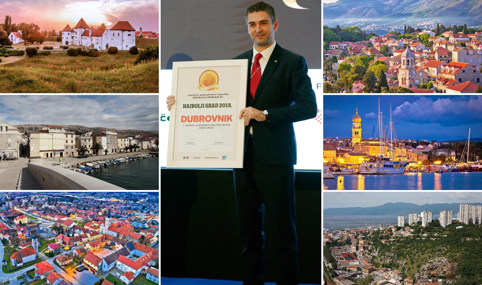 Na fotografiji: Varaždin, Pag, Križevci / Gradonačelnik Dubrovnika Mato Franković s nagradom / Dubrovnik, Krk i Rijeka