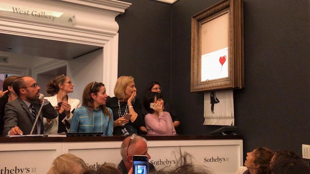 'Djevojka s balonom' se uništava nakon prodaje