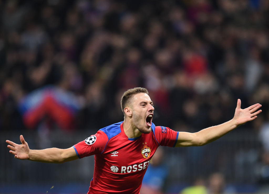 MOSCOW, RUSSIA - OCTOBER 02: Nikola Vlasic of PFC CSKA Moscow celebrates after scoring a goal during the Group G match of the UEFA Champions League between CSKA Moscow and Real Madrid at the Luzhniki Stadium on October 02, 2018 in Moscow, Russia. (Photo by Epsilon/Getty Images)