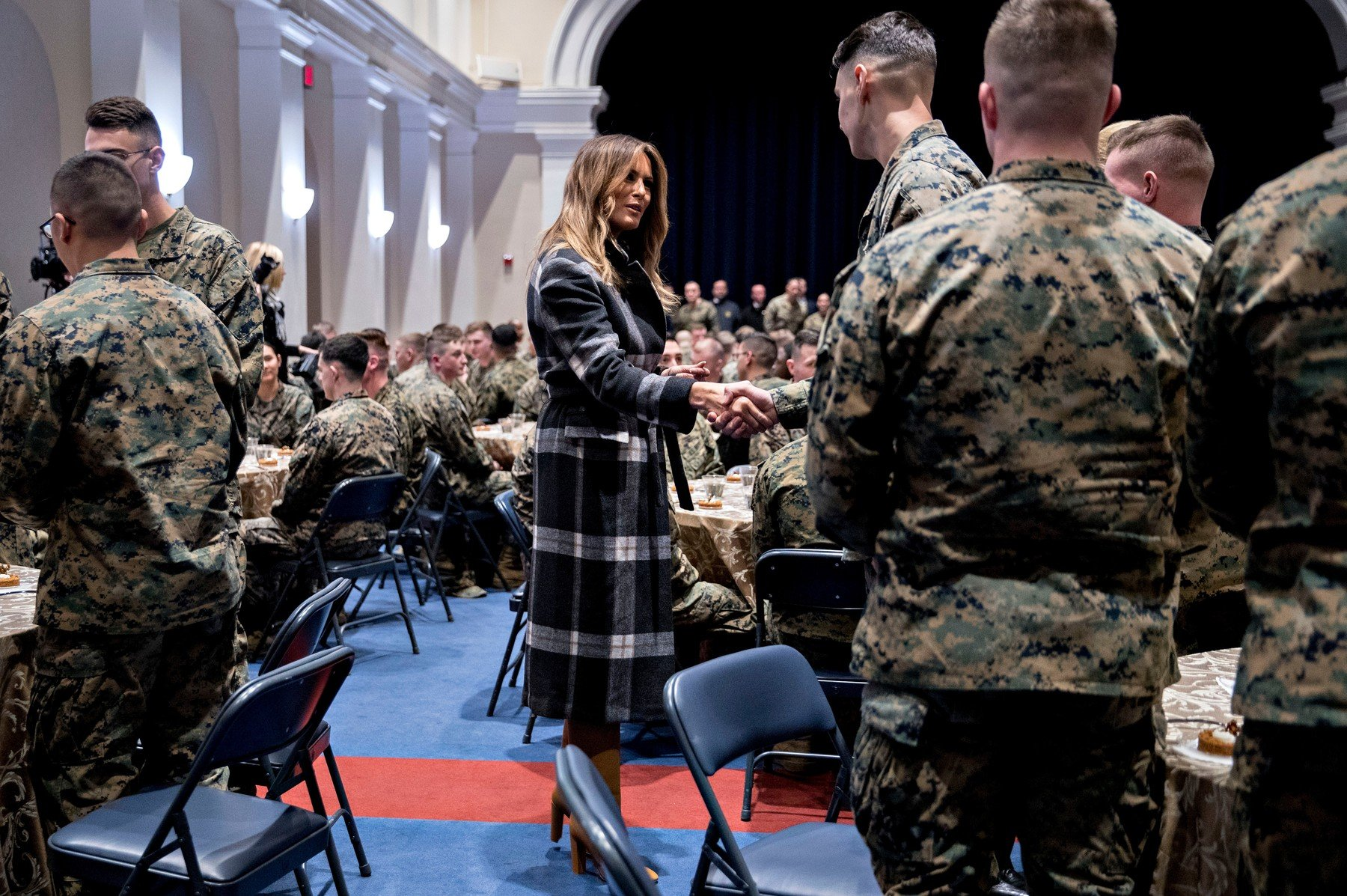 First Lady Melania Trump, center, greets Marines with United States President Donald J. Trump, not pictured, at Marine Barracks in Washington, D.C., U.S,. President Trump and the First Lady are meeting with Marines who responded to a building fire at the Arthur Capper Public Housing complex. Donald Trump Visit to Marine Barracks, Washington DC, USA - 15 Nov 2018, Image: 396365606, License: Rights-managed, Restrictions: , Model Release: no, Credit line: Profimedia, TEMP Rex Features