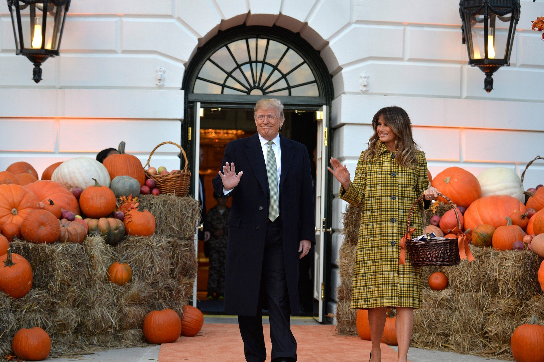 President Donald Trump and First Lady Melania Trump arrive to welcome trick or treaters to the White House for Halloween festivities, October 28, 2018, in Washington, DC., Image: 393015570, License: Rights-managed, Restrictions: *** World Rights ***, Model Release: no, Credit line: Profimedia, SIPA USA