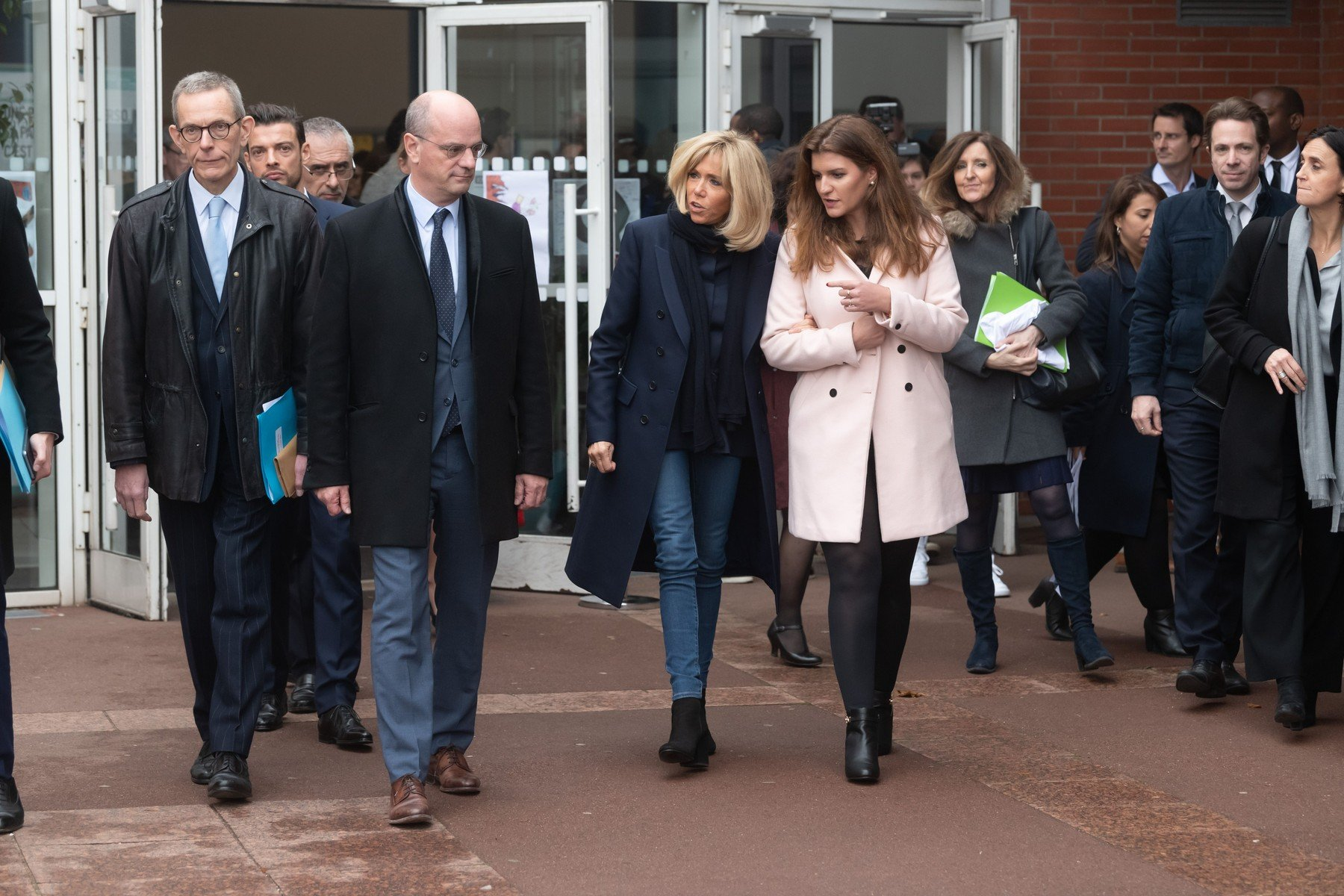 Jean-Michel Blanquer, Brigitte Macron and Marlene Schiappa. French Education Minister Jean-Michel Blanquer, French President's wife Brigitte Macron and French Junior Minister for Gender Equality Marlene Schiappa  visiting a school to raise awareness about bullying.  Clamart,FRANCE-15/11/2018    //JACQUESWITT_choix030/Credit:Jacques Witt/SIPA/1811151619, Image: 396309172, License: Rights-managed, Restrictions: , Model Release: no, Credit line: Profimedia, TEMP Sipa Press