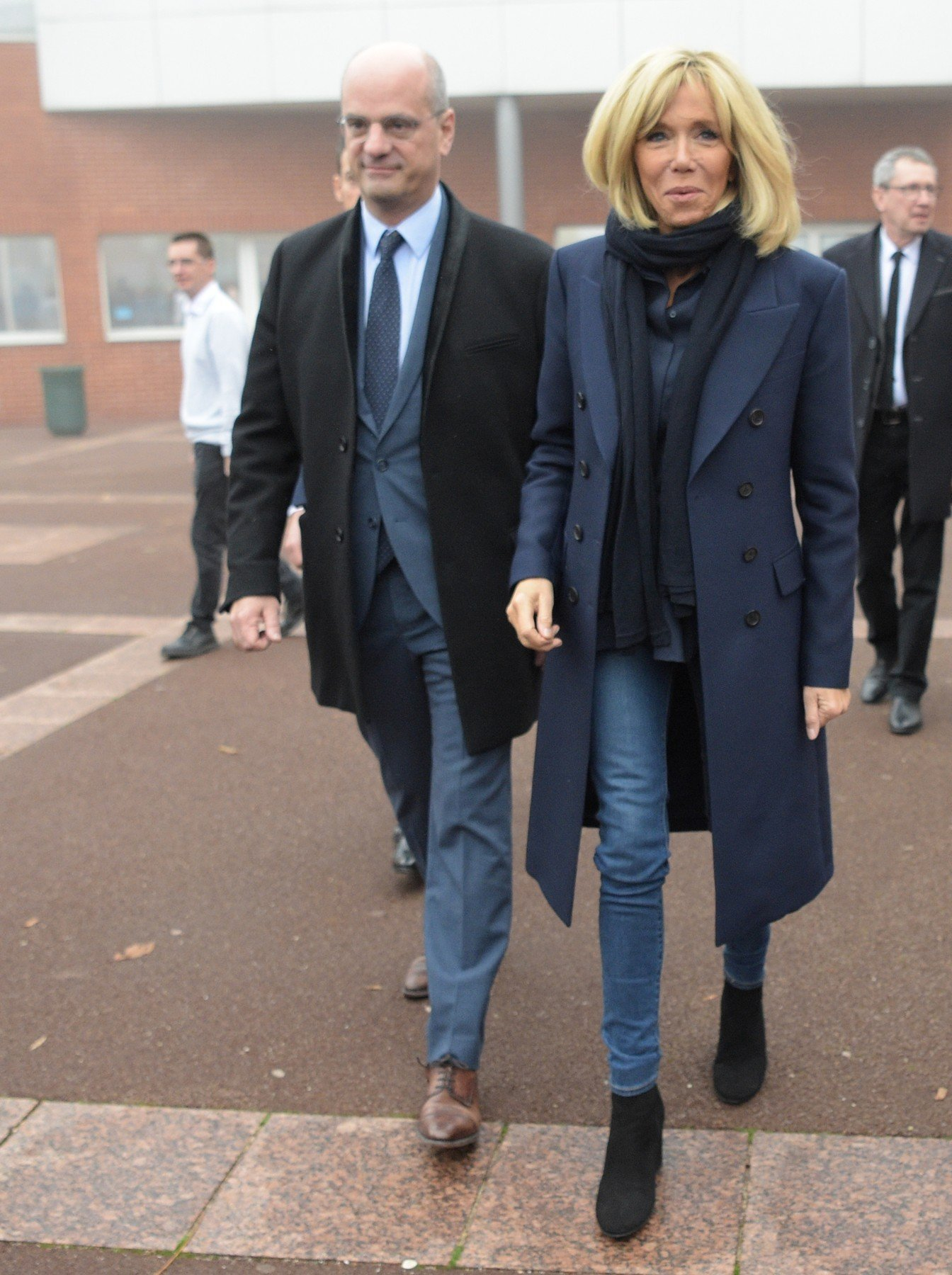 French Education Minister Jean-Michel Blanquer, French President's wife Brigitte Macron and French Junior Minister for Gender Equality Marlene Schiappa during a visit to raise awareness about bullying in a high school of Clamart, near Paris, France on November 15, 2018., Image: 396311080, License: Rights-managed, Restrictions: , Model Release: no, Credit line: Profimedia, Abaca