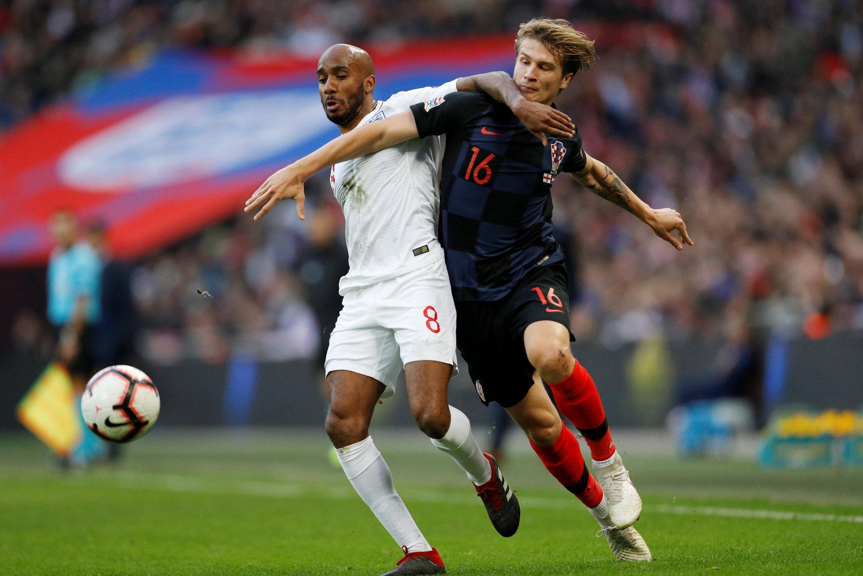 Soccer Football - UEFA Nations League - League A - Group 4 - England v Croatia - Wembley Stadium, London, Britain - November 18, 2018  England's Fabian Delph in action with Croatia's Tin Jedvaj        REUTERS/Darren Staples
