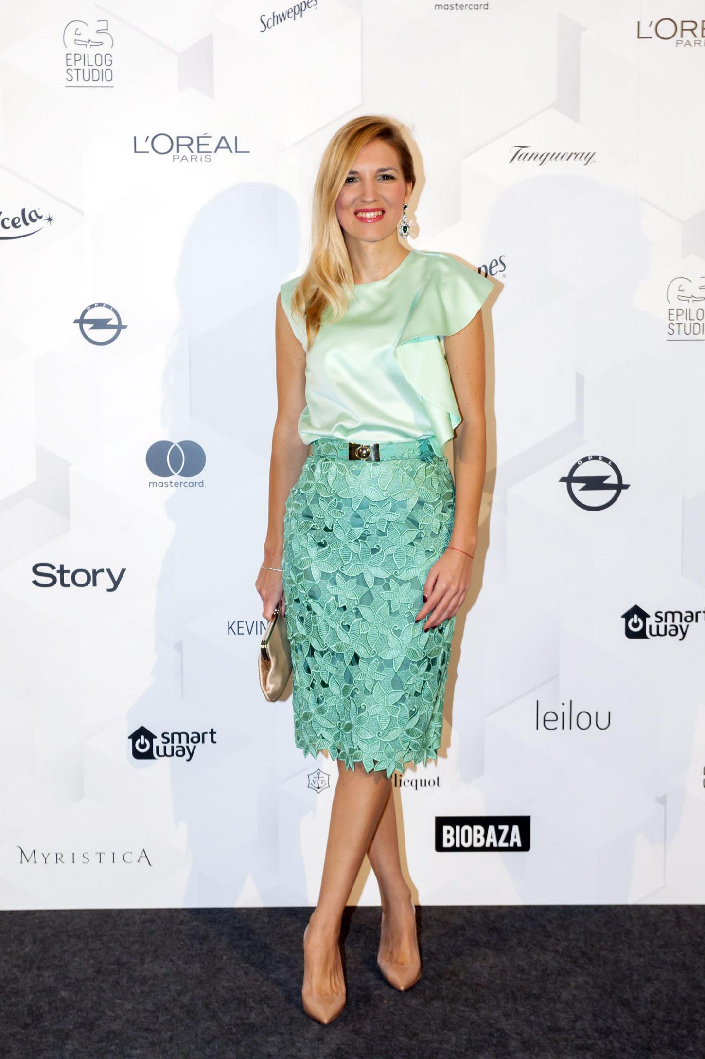 Zagreb, 201118. Prisavlje, Kockica. Poznati na modnoj reviji Aleksandre Dojcinovic. Na fotografiji: Irena Skoric. Foto: Tomislav Kristo / CROPIX