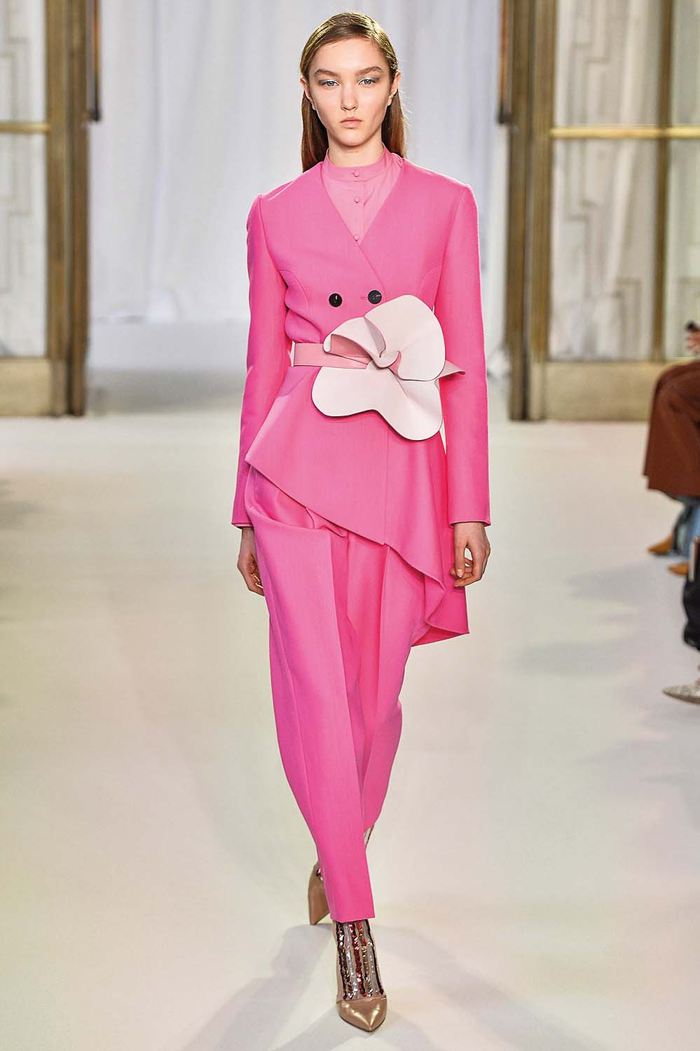 LONDON, ENGLAND - FEBRUARY 18:  A model walks the runway at the Delpozo Autumn Winter 2018 fashion show during London Fashion Week on February 18, 2018 in London, United Kingdom.  (Photo by Catwalking/Getty Images)