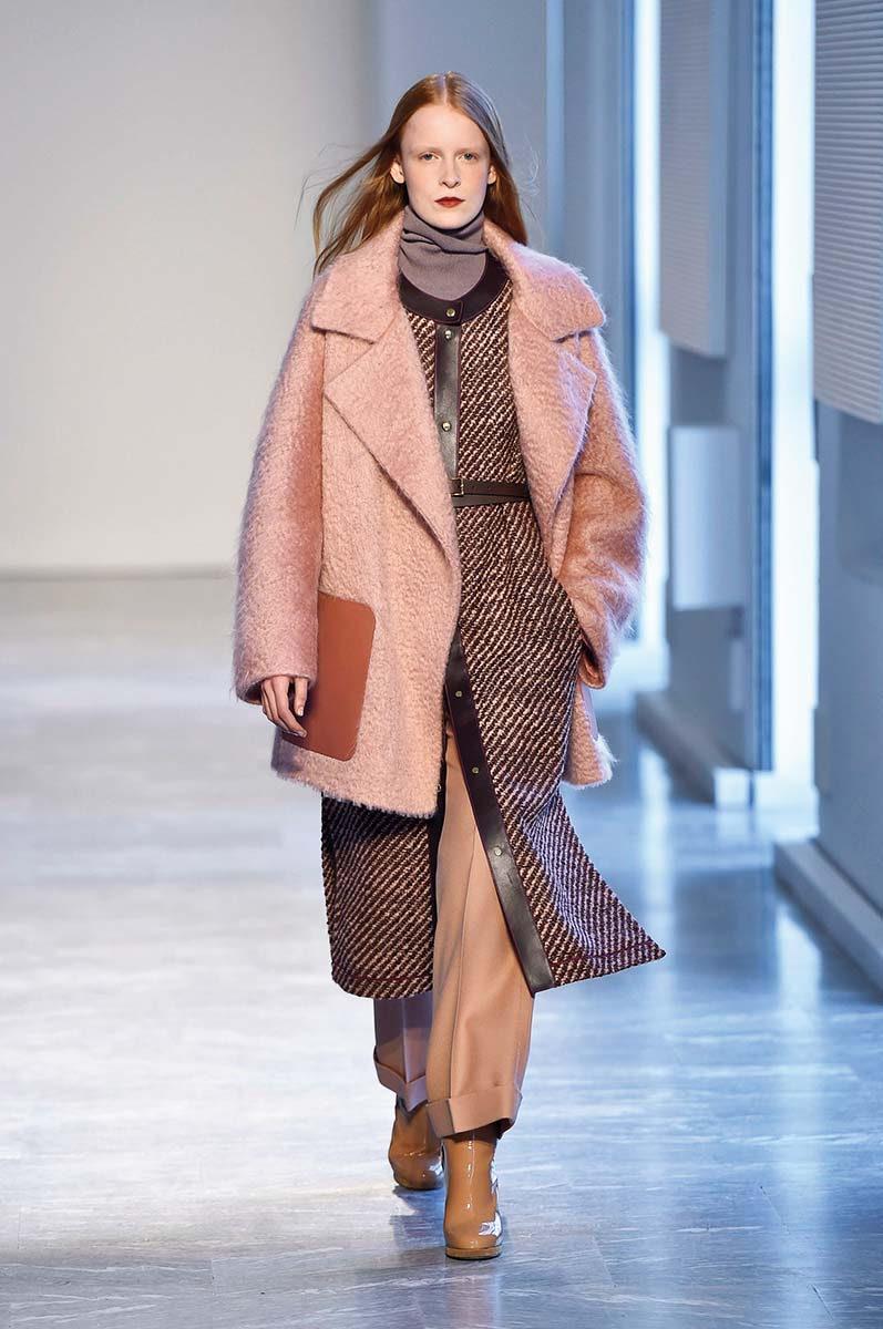 MILAN, ITALY - FEBRUARY 24:  A model walks the runway at the Agnona Autumn Winter 2018 fashion show during Milan Fashion Week on February 24, 2018 in Milan, Italy.  (Photo by Catwalking/Getty Images)
