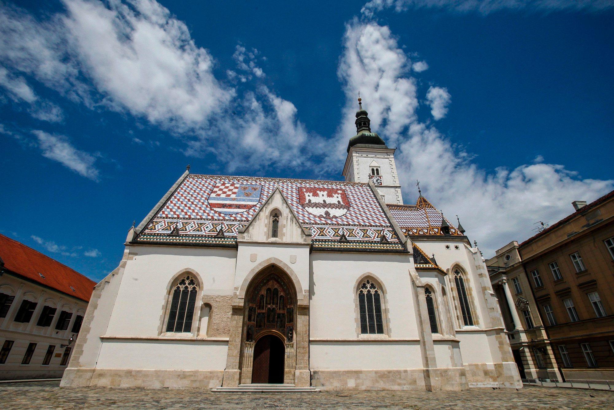 Zagreb, 080718. Crkva Svetog Marka. Na fotografiji: eksterijer crkve. Foto: Zeljko Puhovski / CROPIX