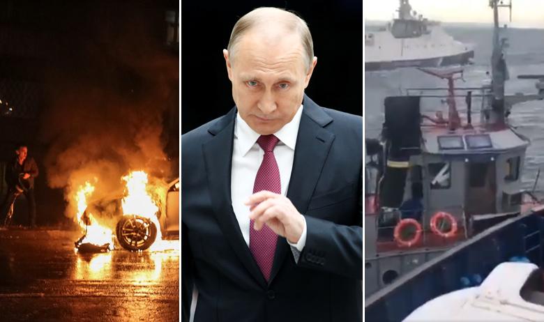 Zapaljeni automobil u Moskvi, Vladimir Putin, sukob ruskih i ukrajinskih brodova