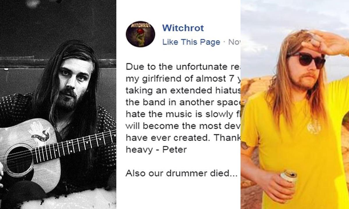 Peter Turik (lijevo), objava na Facebooku u sredini i gitarist Kyle Hill desno