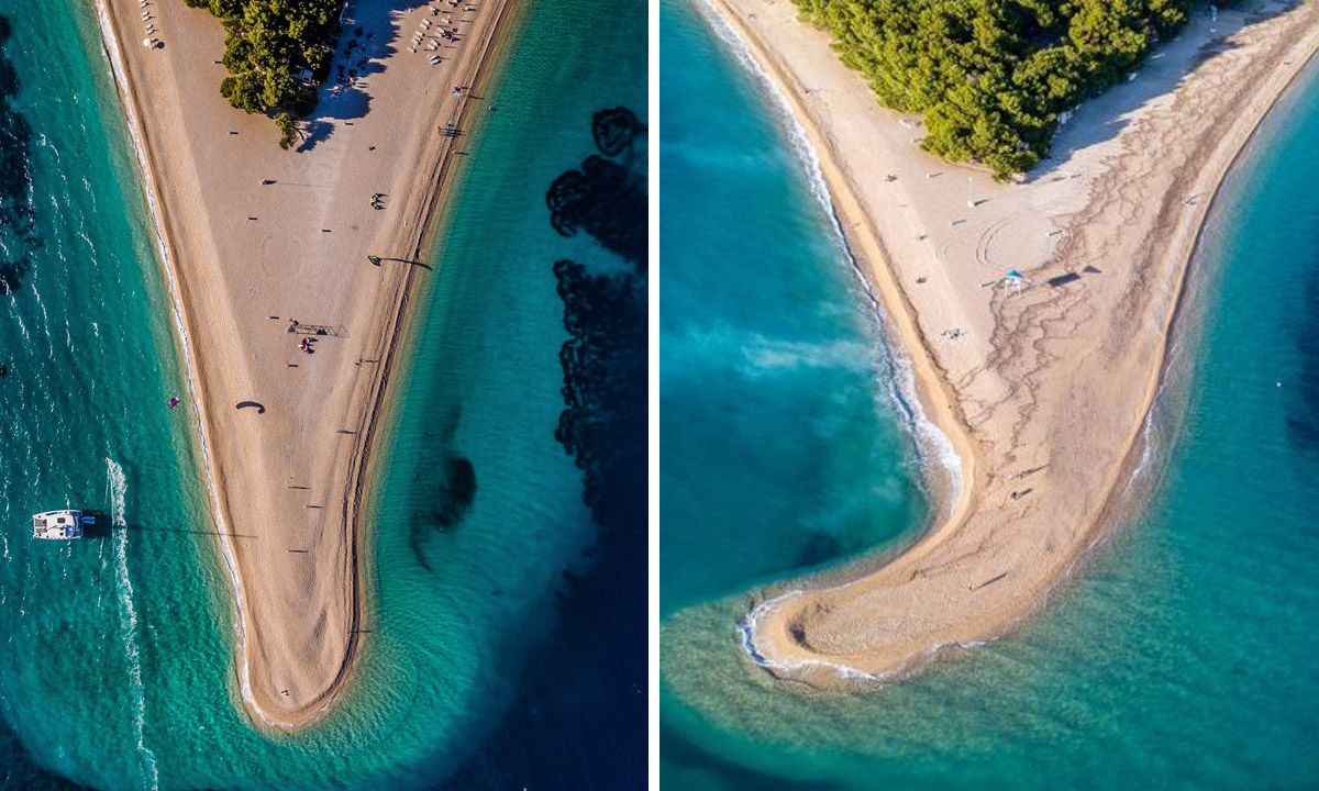 Arhivska fotografija Zlatnog rata (lijevo), novi izgled poznate plaže (desno, foto: Roni Marinković)