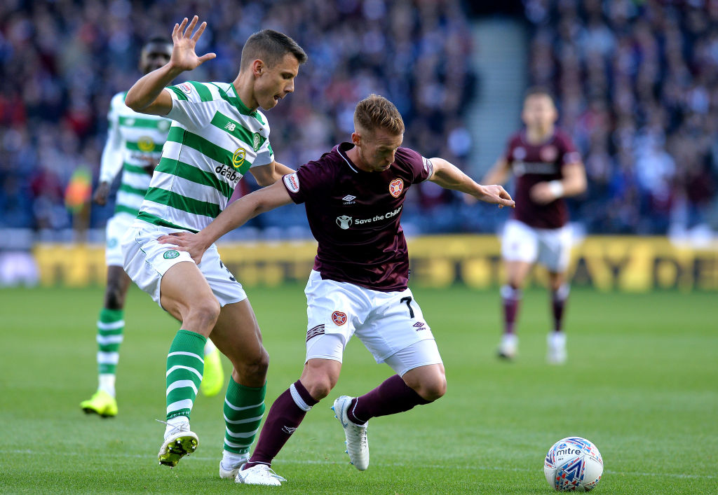 EDINBURGH, SCOTLAND - OCTOBER 28: Oliver Bozniac of Heart of Midlothian F.C. holds off Filip Benkovic of Celtic during the Betfred Scottish League Cup Semi Final between Heart of Midlothian FC and Celtic FC on October 28, 2018 in Edinburgh, Scotland.  (Photo by Mark Runnacles/Getty Images)