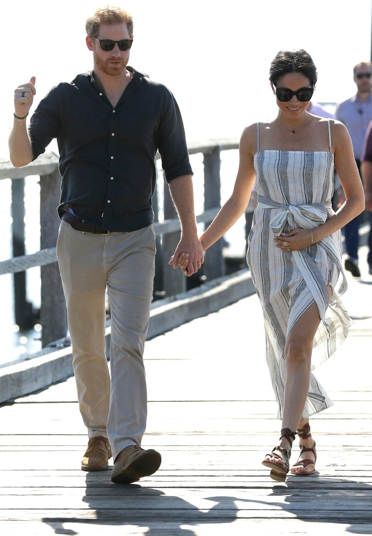 The Duke and Duchess of Sussex walk along Kingfisher Bay Jetty on Fraser Island, Queensland, on day seven of the Duke and Duchess of Sussex's visit to Australia., Image: 392053744, License: Rights-managed, Restrictions: , Model Release: no, Credit line: Profimedia, Press Association