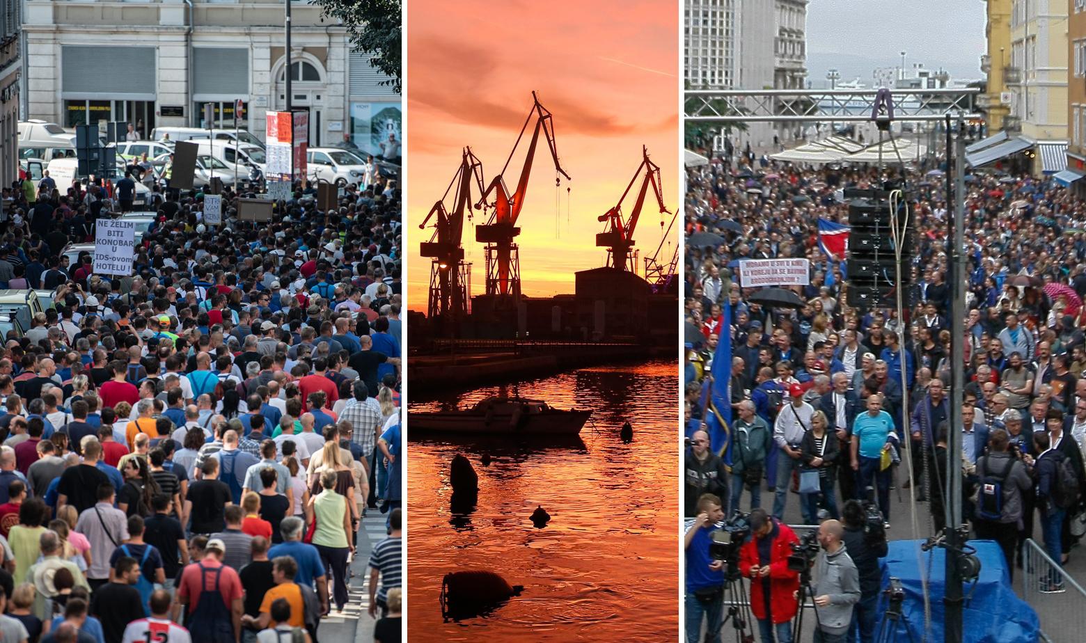 Prosvjed radnika Uljanika i 3. maja i zalazak sunca iznad škvera u Puli