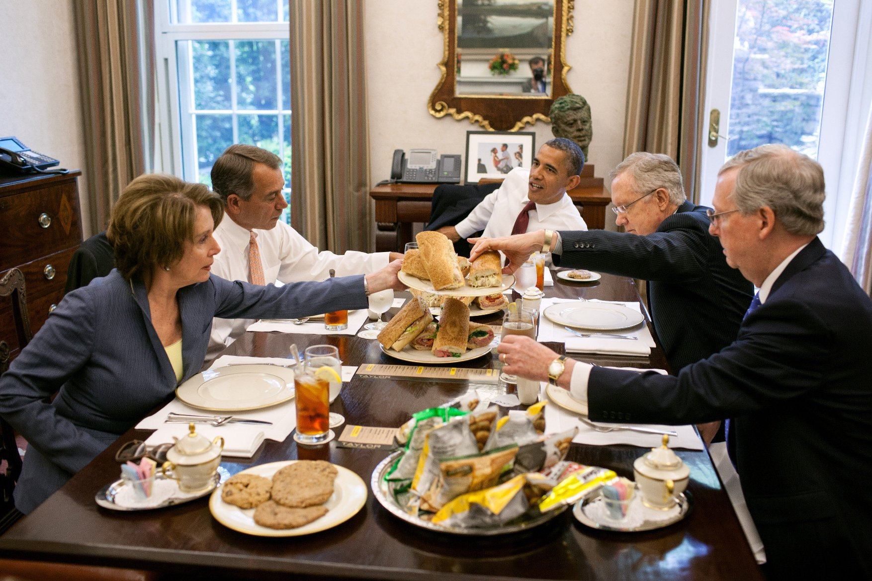 May 16, 2012 - Washington, District of Columbia, U.S. - President BARACK OBAMA has lunch with members of the Congressional Leadership in the Oval Office Private Dining Room. The President served hoagies from Taylor Gourmet, which he purchased after a small business roundtable earlier in the day. Seated, clockwise from the President, are: Senate Majority Leader HARRY REID, Senate Minority Leader MITCH MCCONNELL, House Minority Leader NANCY PELOSI, and House Speaker JOHN BOEHNER., Image: 131471942, License: Rights-managed, Restrictions: , Model Release: no, Credit line: Profimedia, Zuma Press - Archives